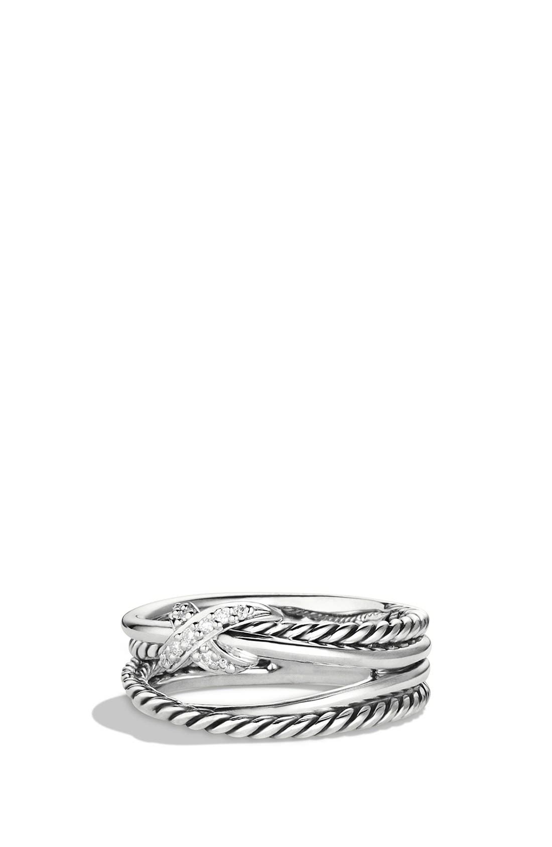 Main Image - David Yurman 'X Crossover' Ring with Diamonds