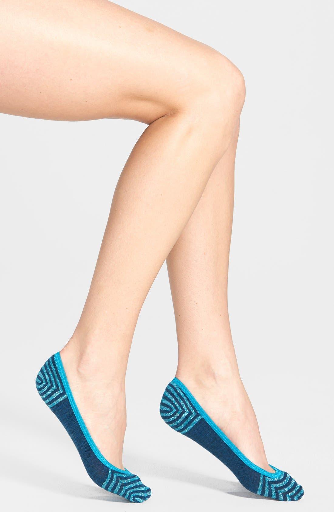 Main Image - Smartwool Metallic Stripe Merino Wool No-Show Socks (Nordstrom Exclusive)