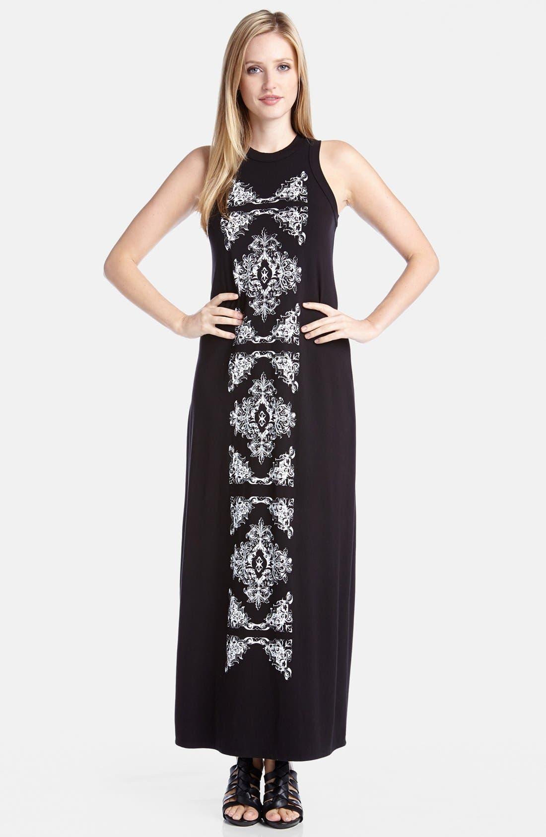 Main Image - Karen Kane Print Panel High Neck Jersey Maxi Dress