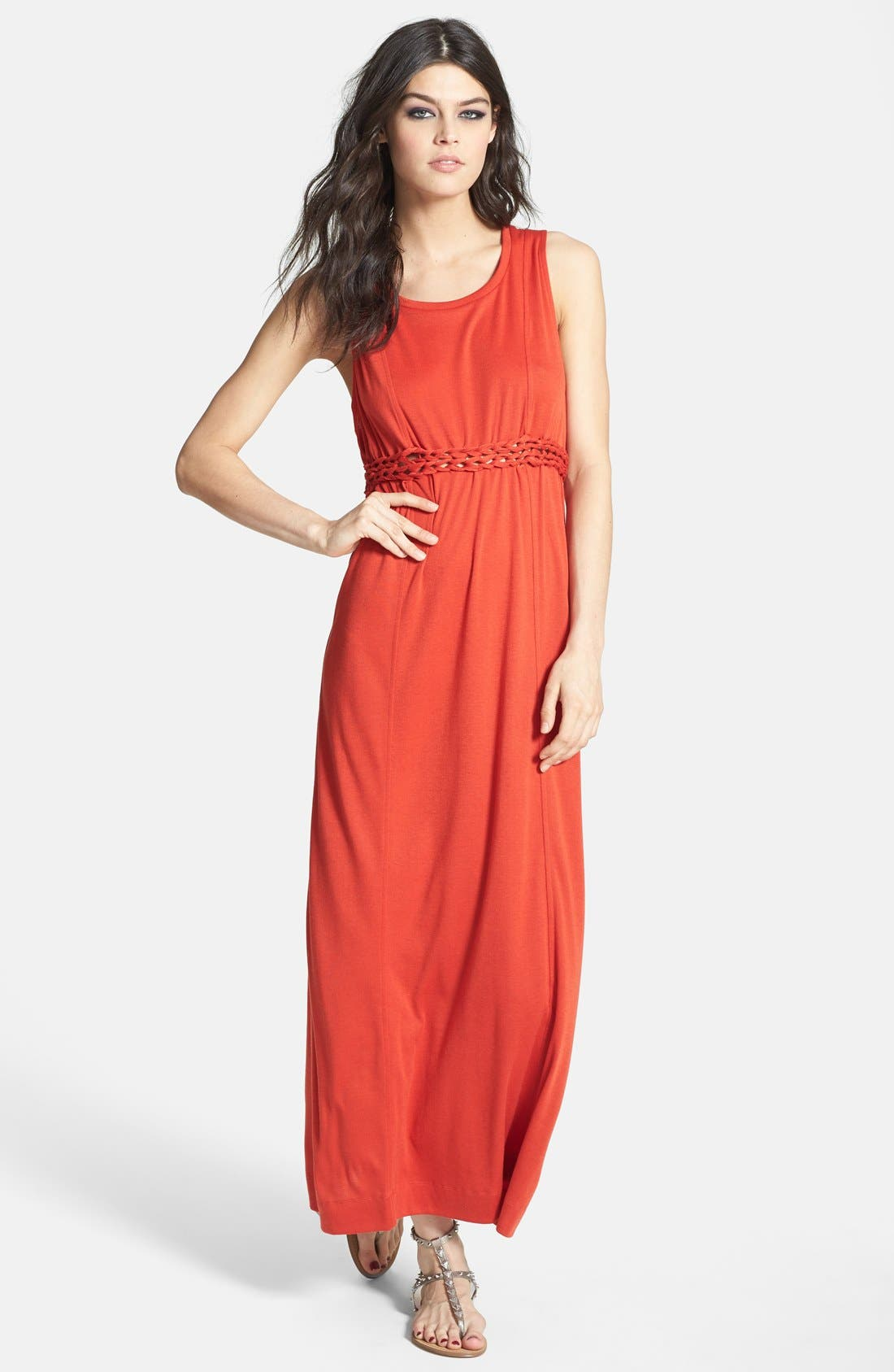 Main Image - Knot Sisters 'Logan' Braided Waist Jersey Maxi Dress