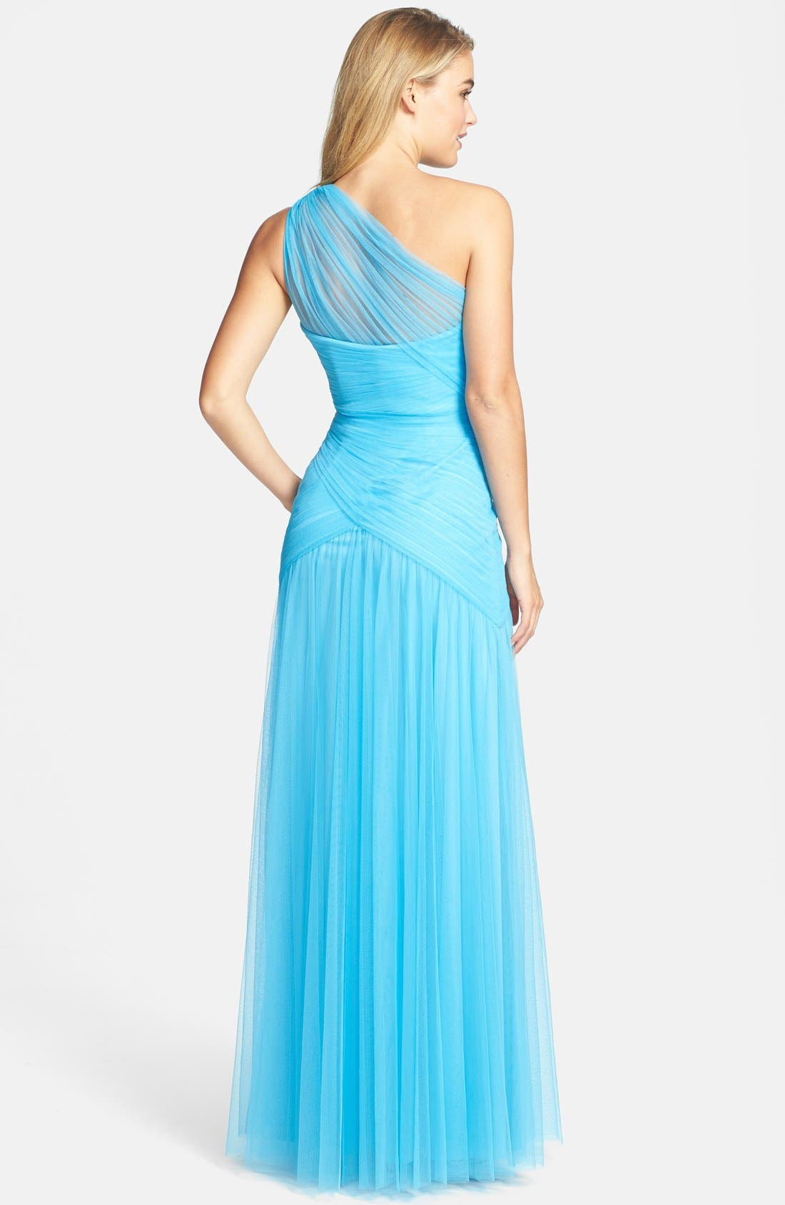 Alternate Image 2  - ML Monique Lhuillier Bridesmaids Shirred One-Shoulder Tulle Gown (Nordstrom Exclusive)