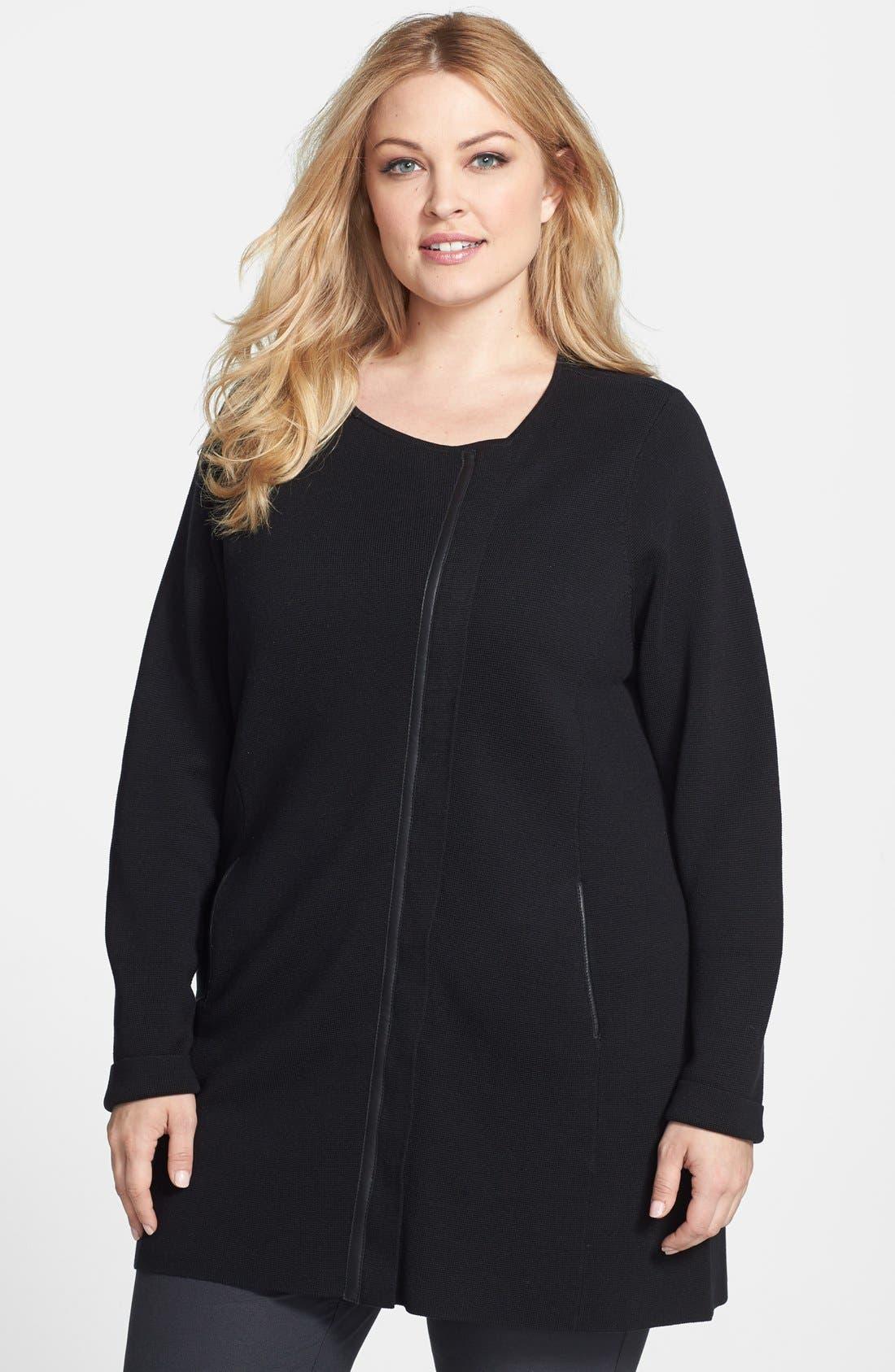 Main Image - Eileen Fisher Tunic Length Jacket (Plus Size)