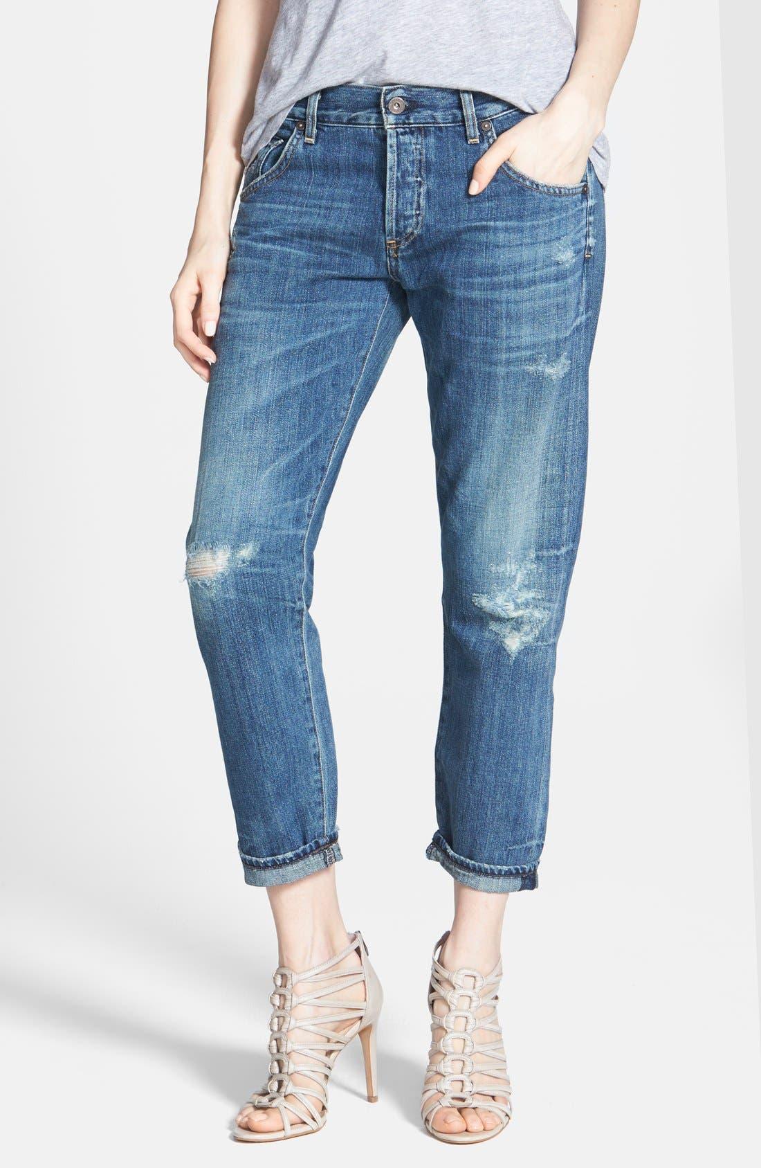Alternate Image 1 Selected - Citizens of Humanity 'Premium Vintage - Skyler' Distressed Crop Jeans (Legacy)
