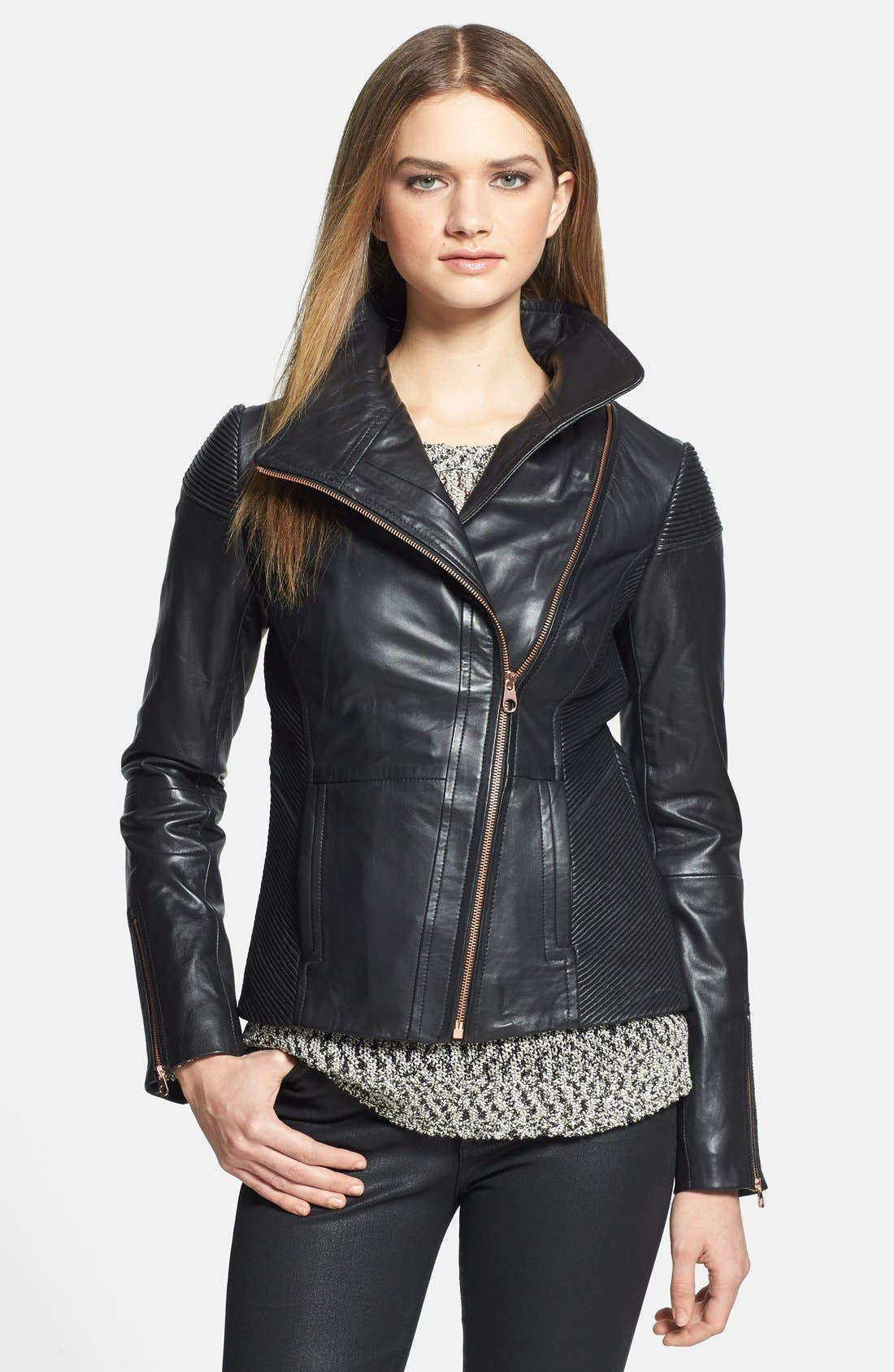 Main Image - Ted Baker London 'Lahara' Convertible Collar Leather Jacket
