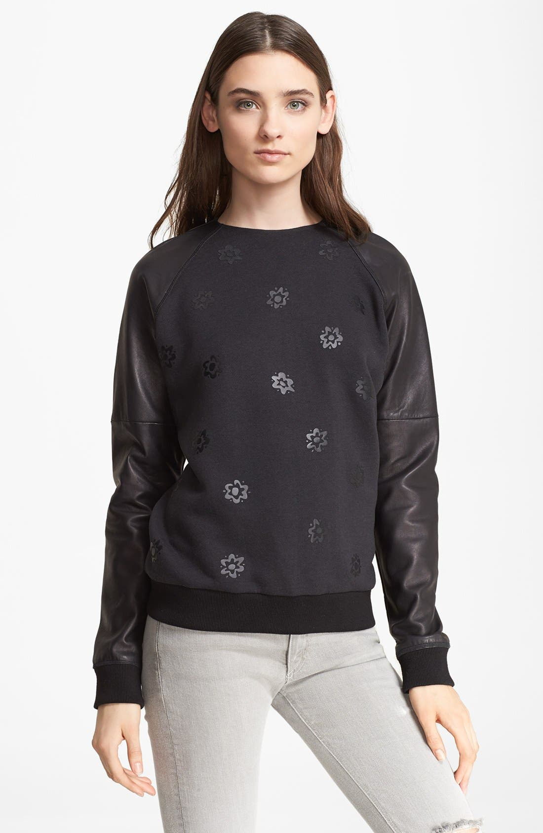 Alternate Image 1 Selected - rag & bone Leather & Cotton Blend Sweater