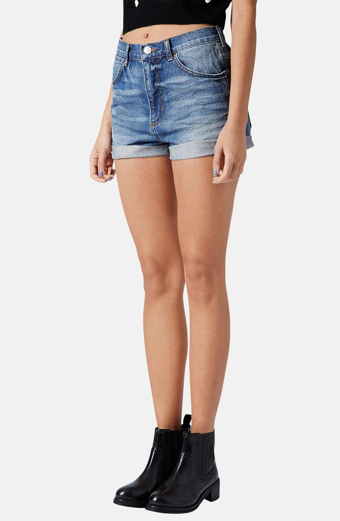 Alternate Image 1 Selected - Topshop Moto 'Rosa' High Rise Denim Shorts (Mid Stone)