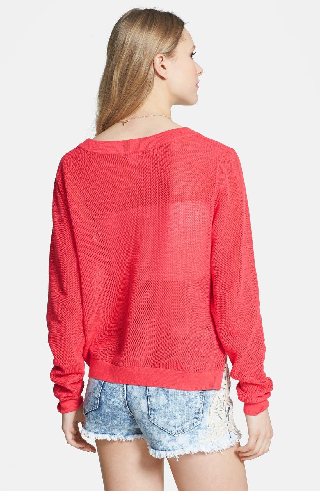 Alternate Image 2  - BP. Open Knit Side Zip Sweater (Juniors)