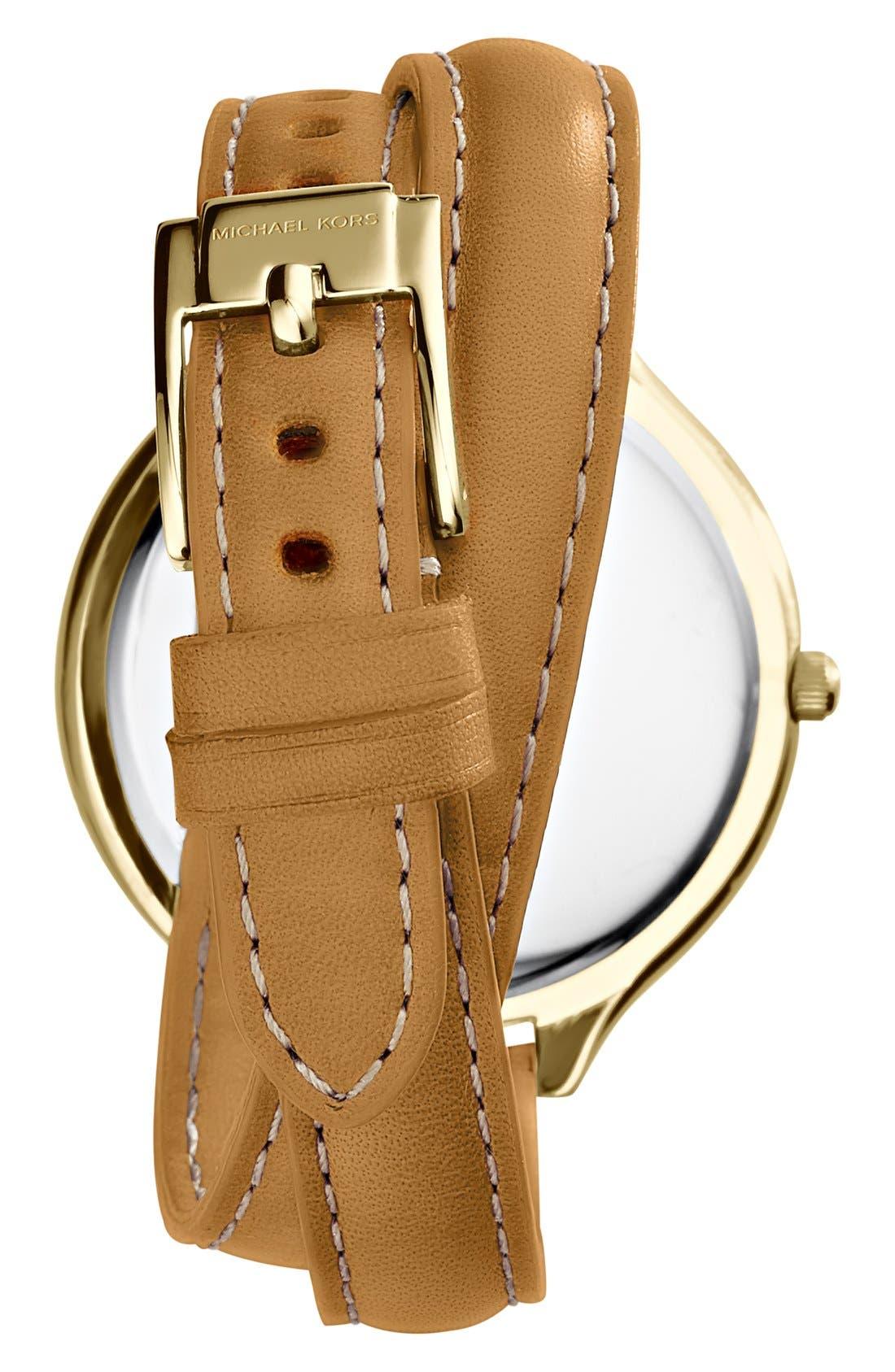 Alternate Image 2  - Michael Kors 'Slim Runway' Cheetah Dial Leather Wrap Watch, 42mm