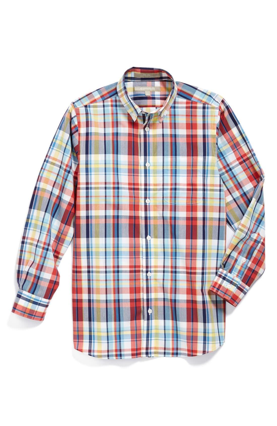 Alternate Image 1 Selected - Nordstrom 'Michael' Plaid Dress Shirt (Big Boys)