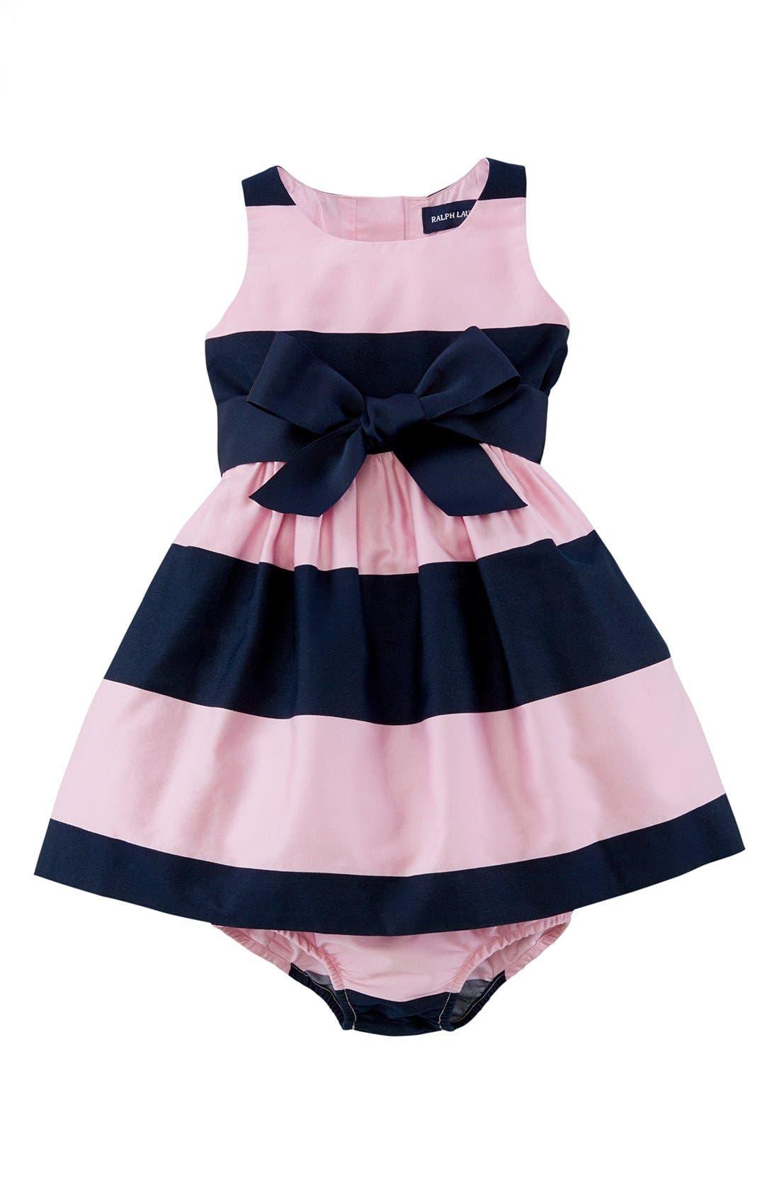 Ralph Lauren Sleeveless Stripe Sateen Dress (Baby Girls ...