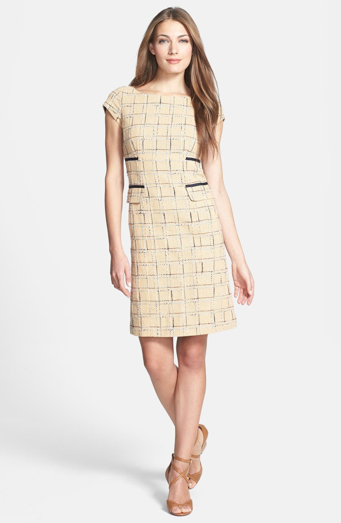 Alternate Image 1 Selected - Tory Burch 'Evie' Woven Cotton & Linen Sheath Dress