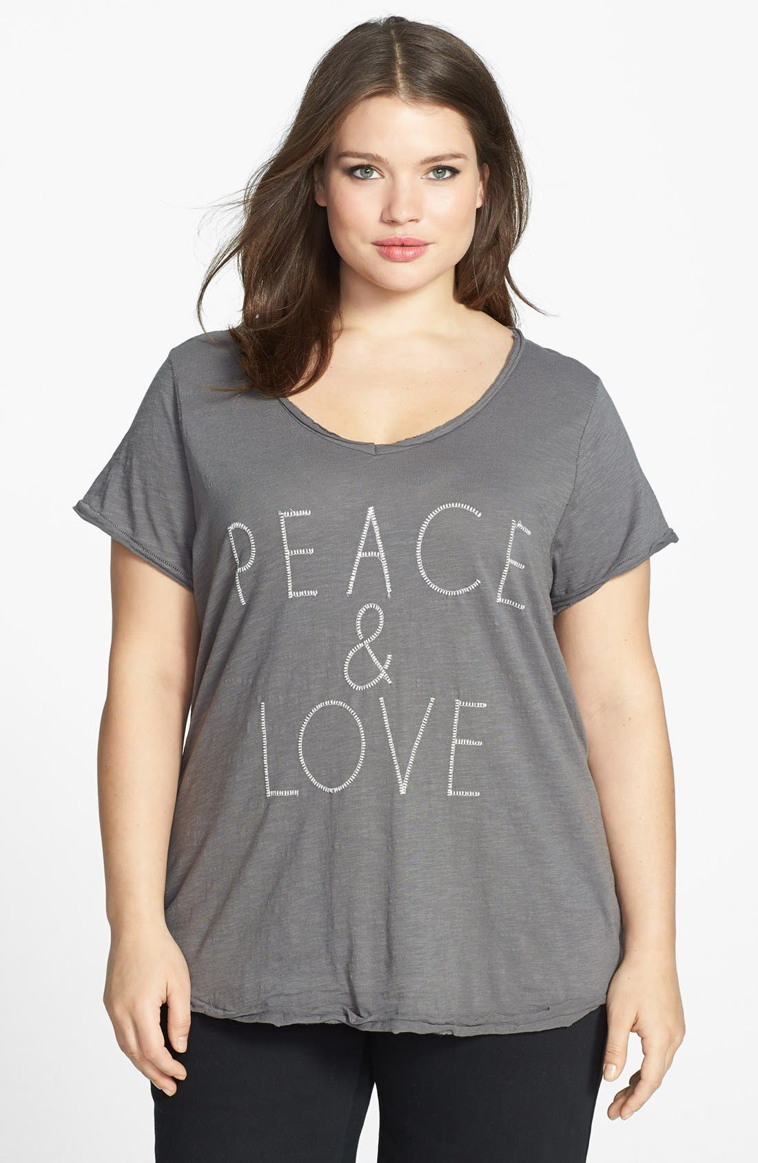 Alternate Image 1 Selected - Lucky Brand 'Peace & Love' Tee (Plus Size)