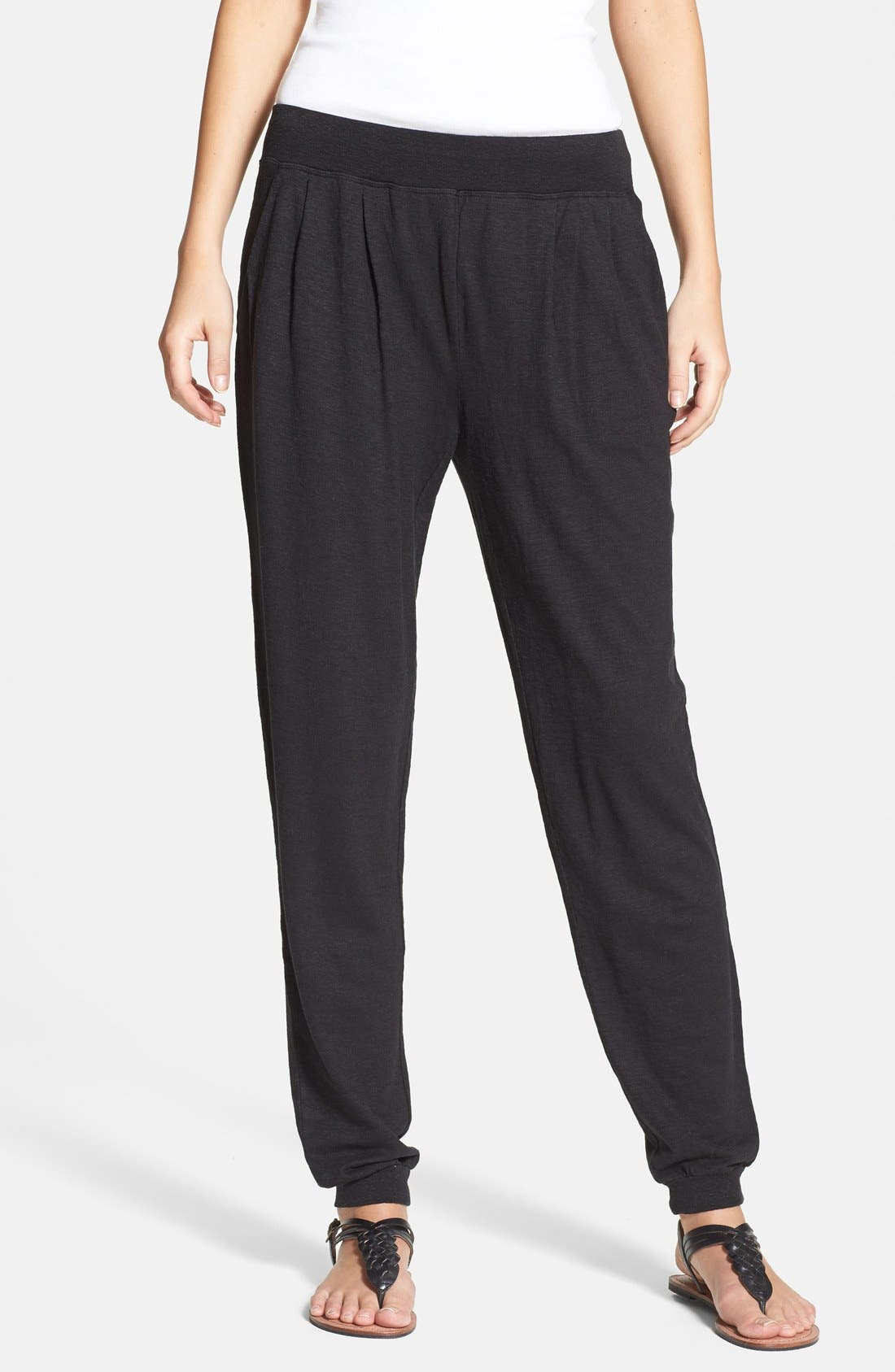 Main Image - Eileen Fisher Pleat Front Knit Ankle Pants (Regular & Petite)