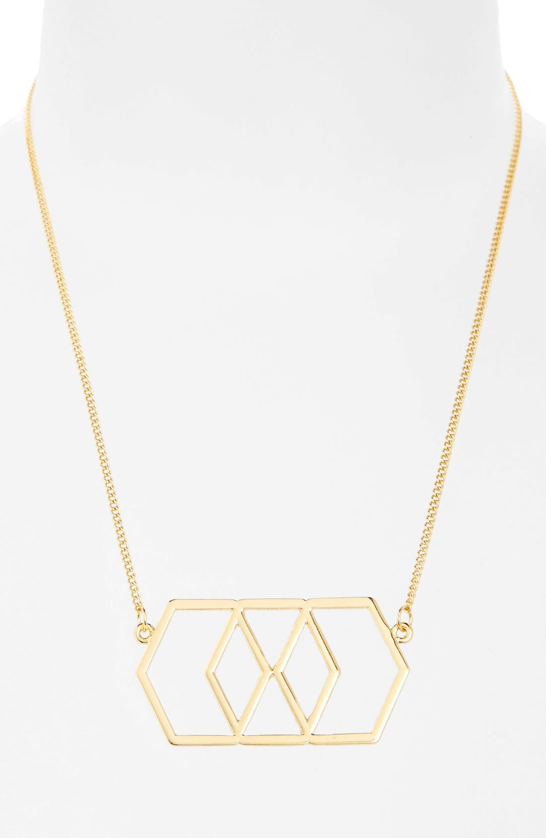 Main Image - Topshop Cutout Hexagon Pendant Necklace