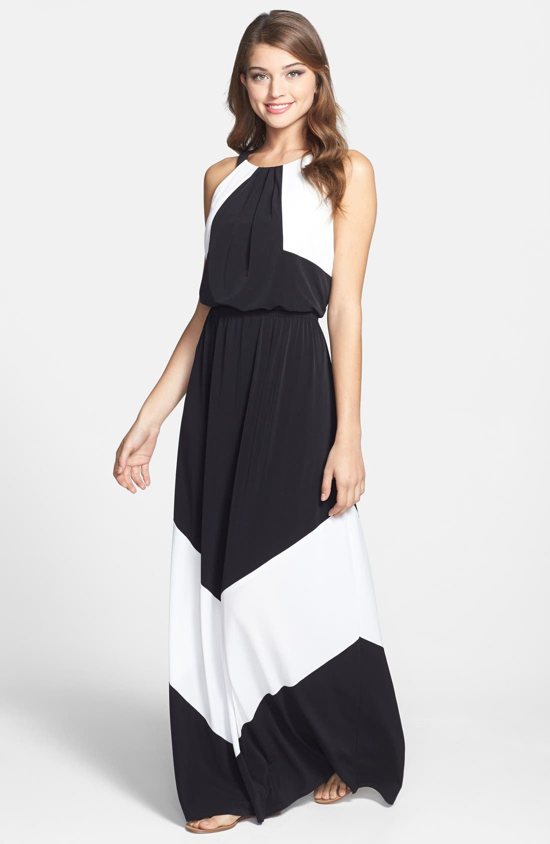 Alternate Image 1 Selected - Vince Camuto Colorblock Stretch Jersey Maxi Dress