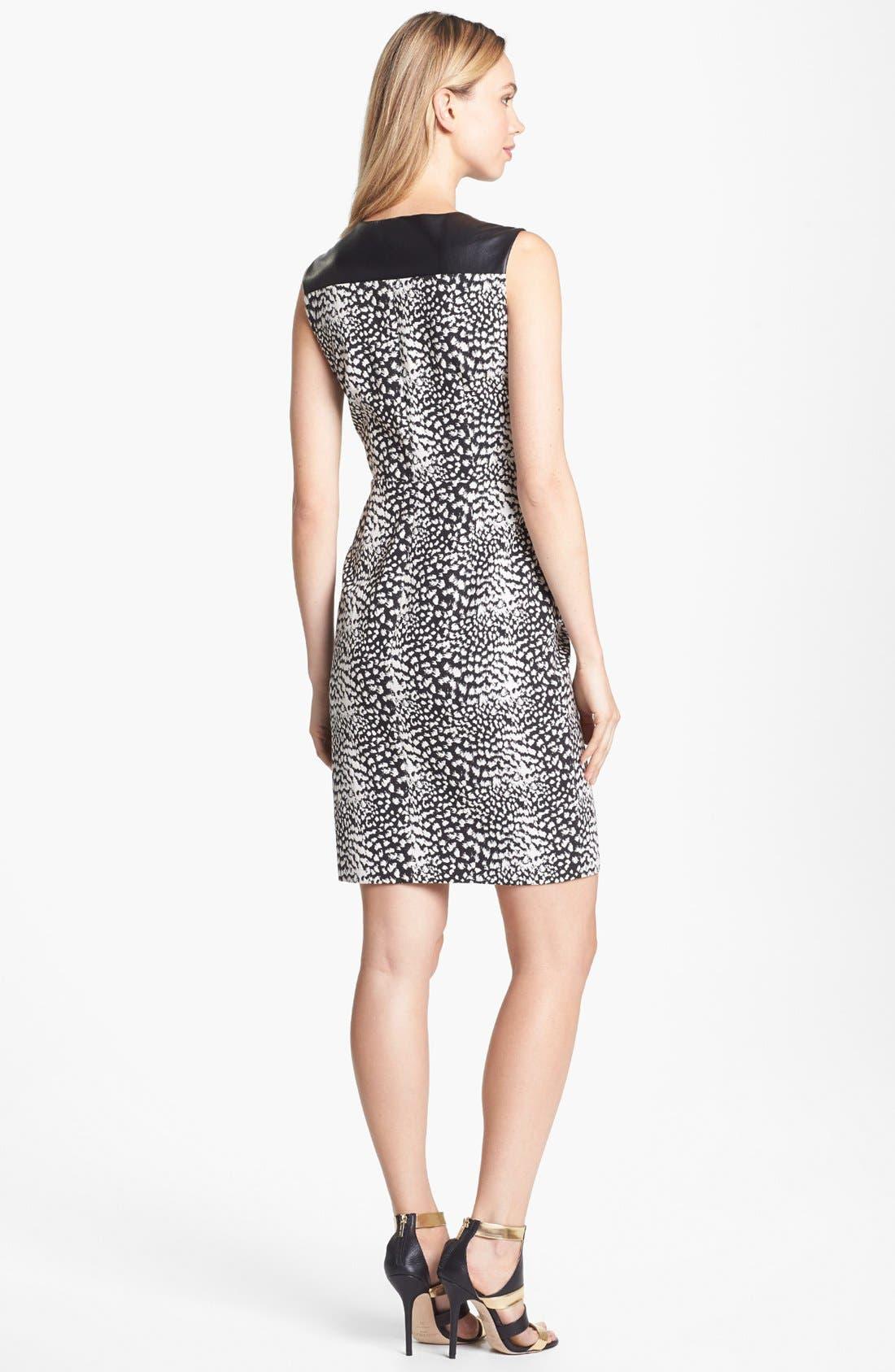 Alternate Image 2  - Vince Camuto Faux Leather Detail Print Zip Front Dress (Petite)