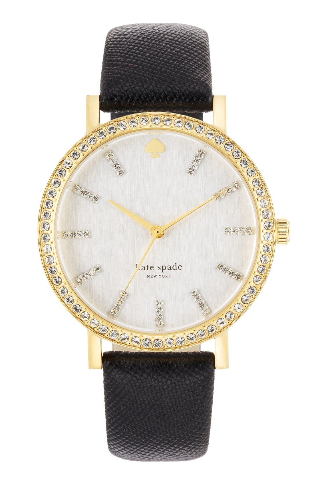 Main Image - kate spade new york 'metro grand' crystal bezel leather strap watch, 38mm