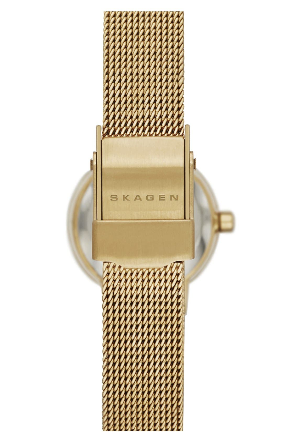 Alternate Image 2  - Skagen 'Leonora' Faceted Bezel Mesh Strap Watch, 20mm