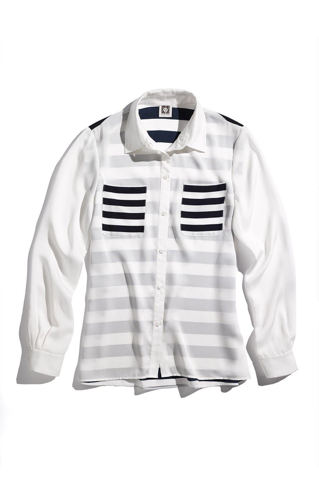 Alternate Image 4  - Anne Klein Stripe Block Two-Pocket Shirt