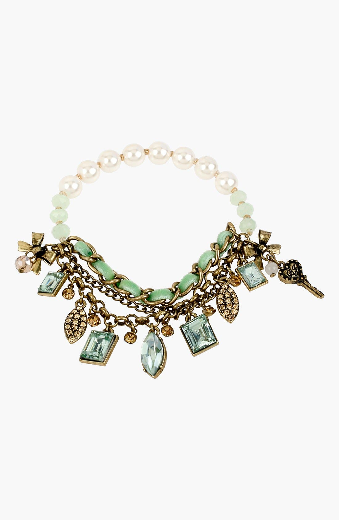 Alternate Image 1 Selected - Betsey Johnson 'Mint Multi' Faux Pearl Charm Bracelet