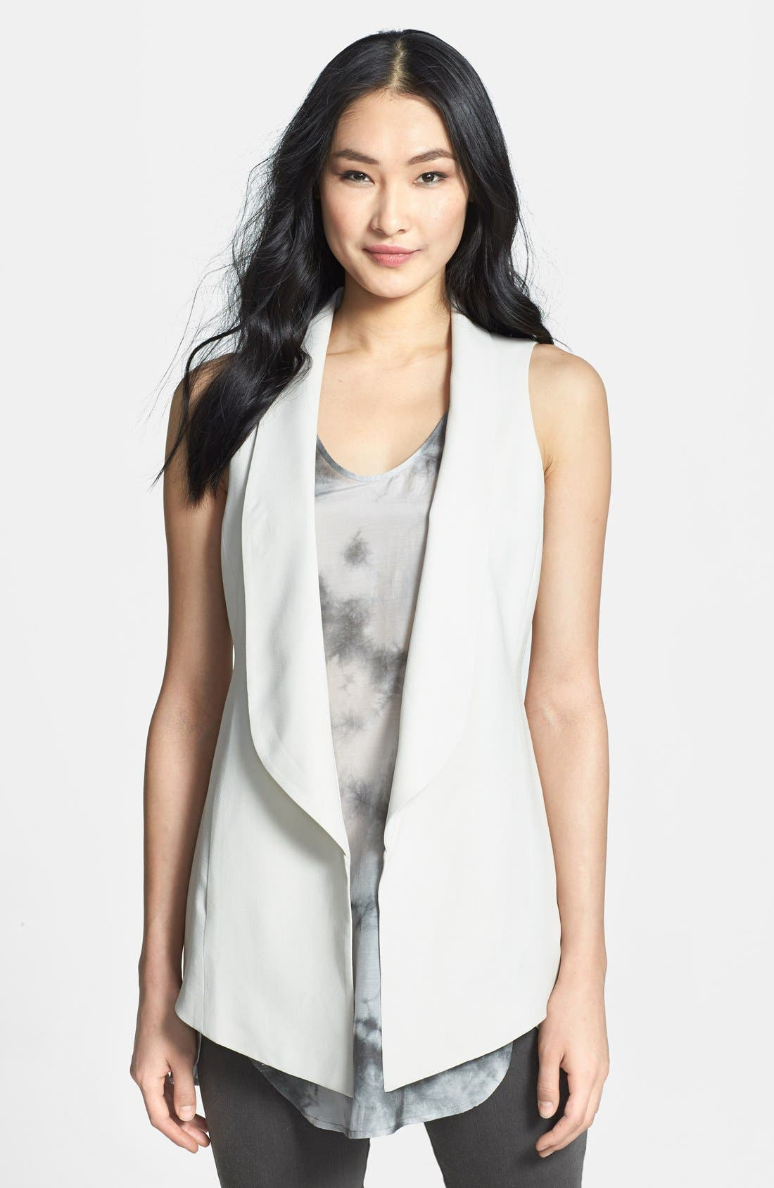 Main Image - Eileen Fisher Shawl Collar Long Vest (Regular & Petite)