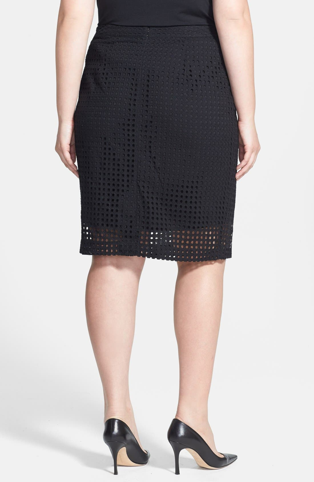 Alternate Image 2  - Halogen® 'Prism' Eyelet Cotton Pencil Skirt (Plus Size)