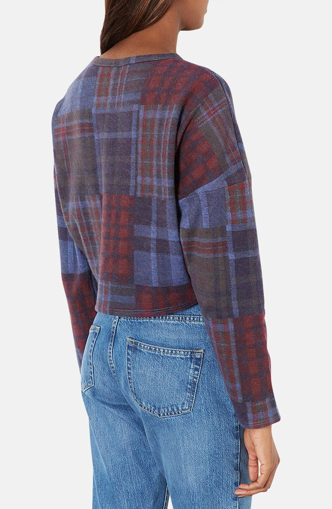 Alternate Image 2  - Topshop Mixed Plaid Crop Sweater (Petite)