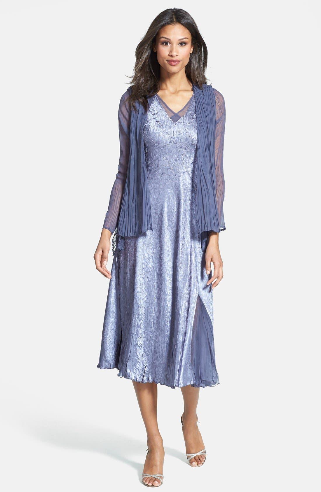 Main Image - Komarov Sleeveless Satin Dress & Chiffon Jacket