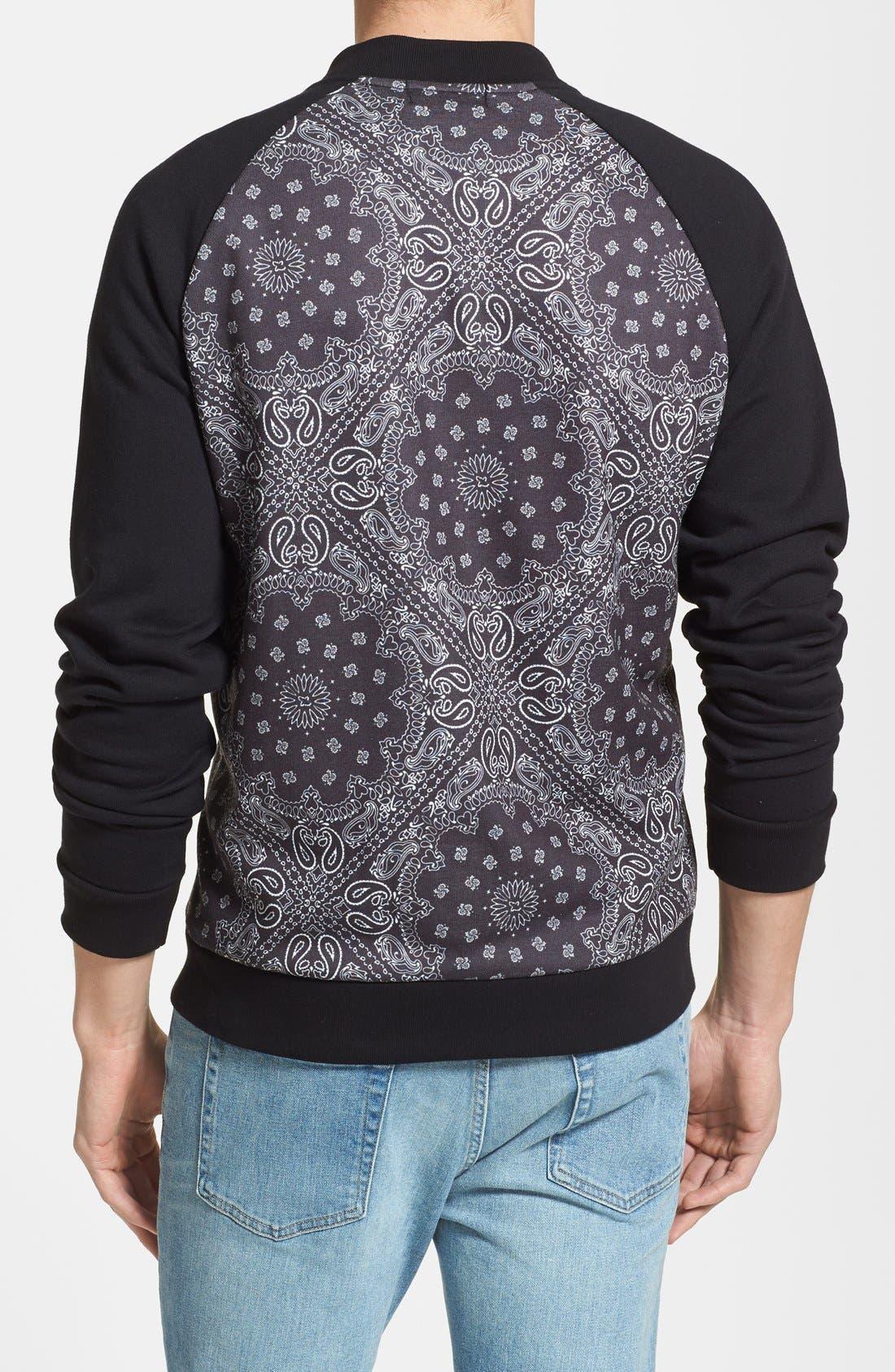 Alternate Image 2  - Topman Bandana Print Jersey Zip Sweatshirt