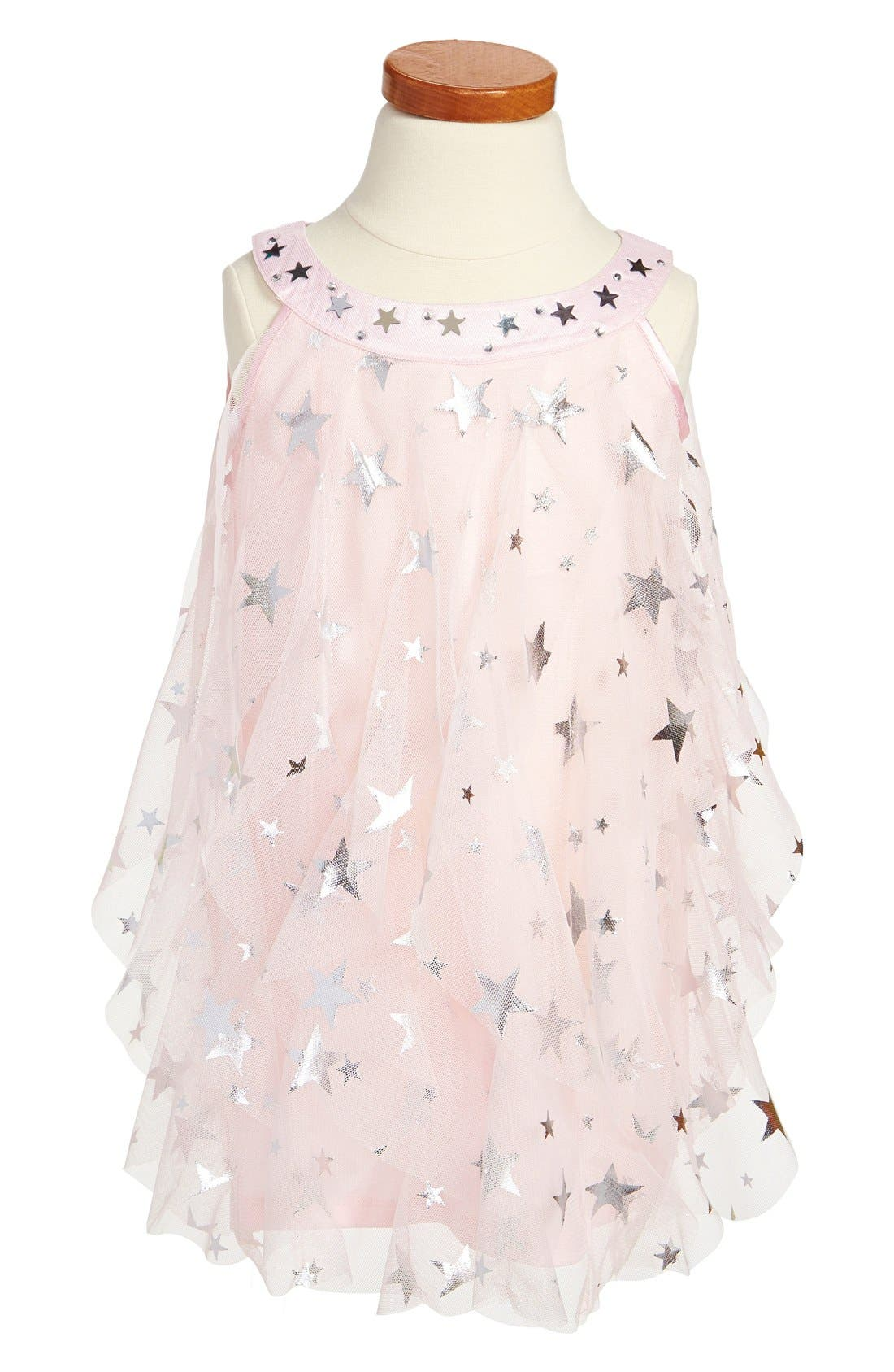 Alternate Image 1 Selected - Biscotti 'Starry Eyed' Ruffle Trapeze Dress (Toddler Girls)