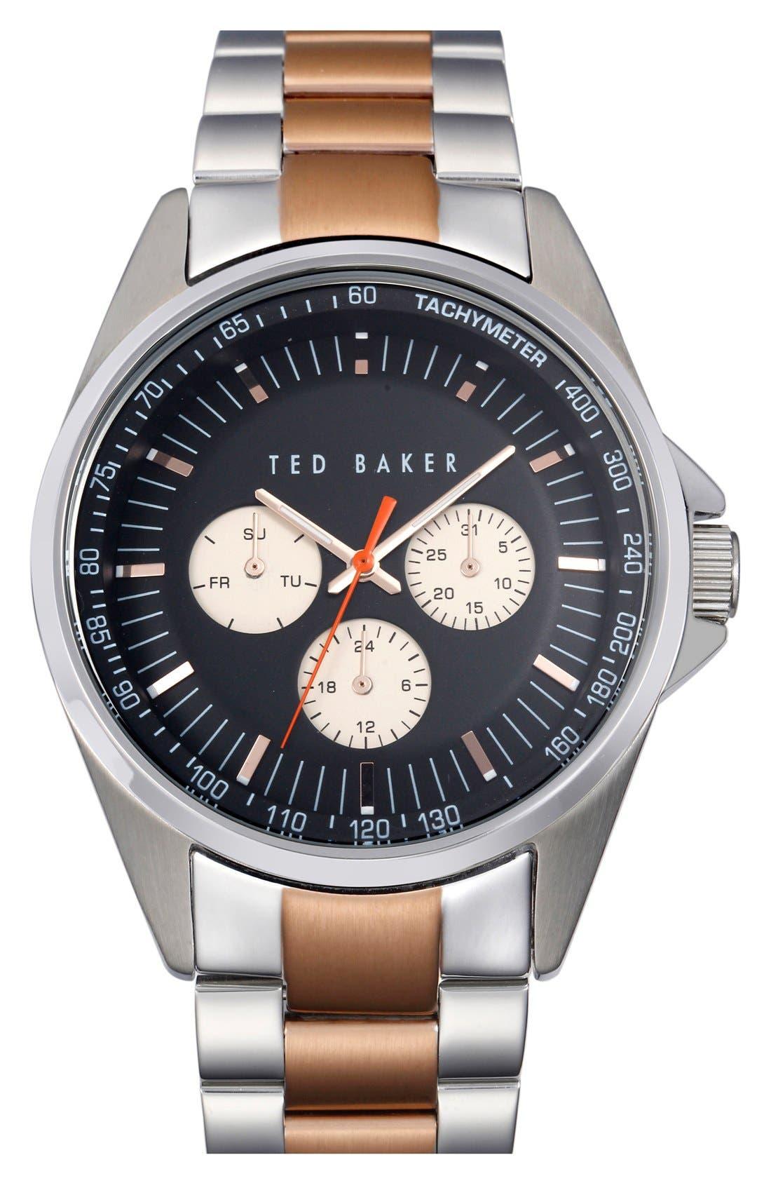 Alternate Image 1 Selected - Ted Baker London Multifunction Two-Tone Bracelet Watch, 42mm