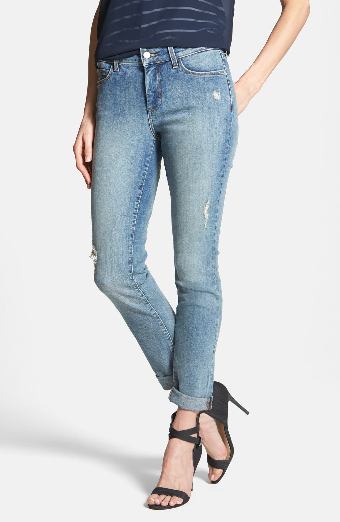 Main Image - NYDJ 'Anabelle' Distressed Stretch Skinny Ankle Jeans (Lake Havasu) (Regular & Petite)