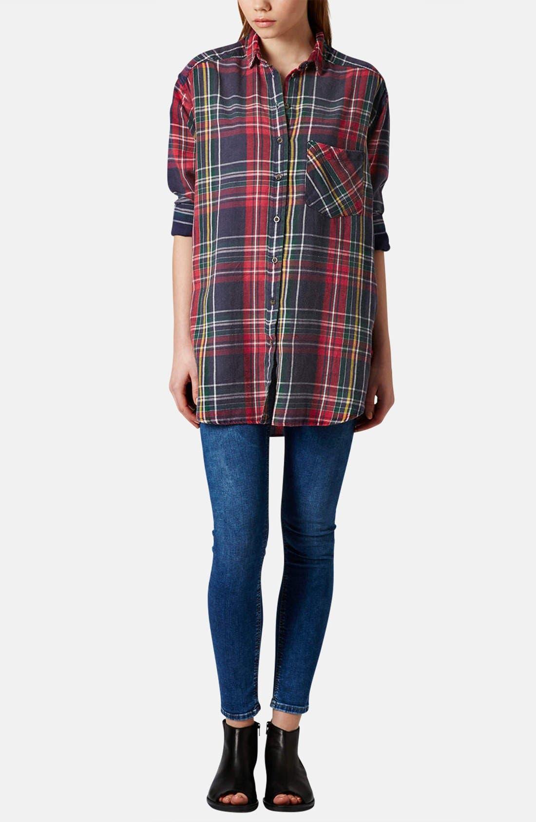 Alternate Image 5  - Topshop Oversized Plaid Cotton Shirt
