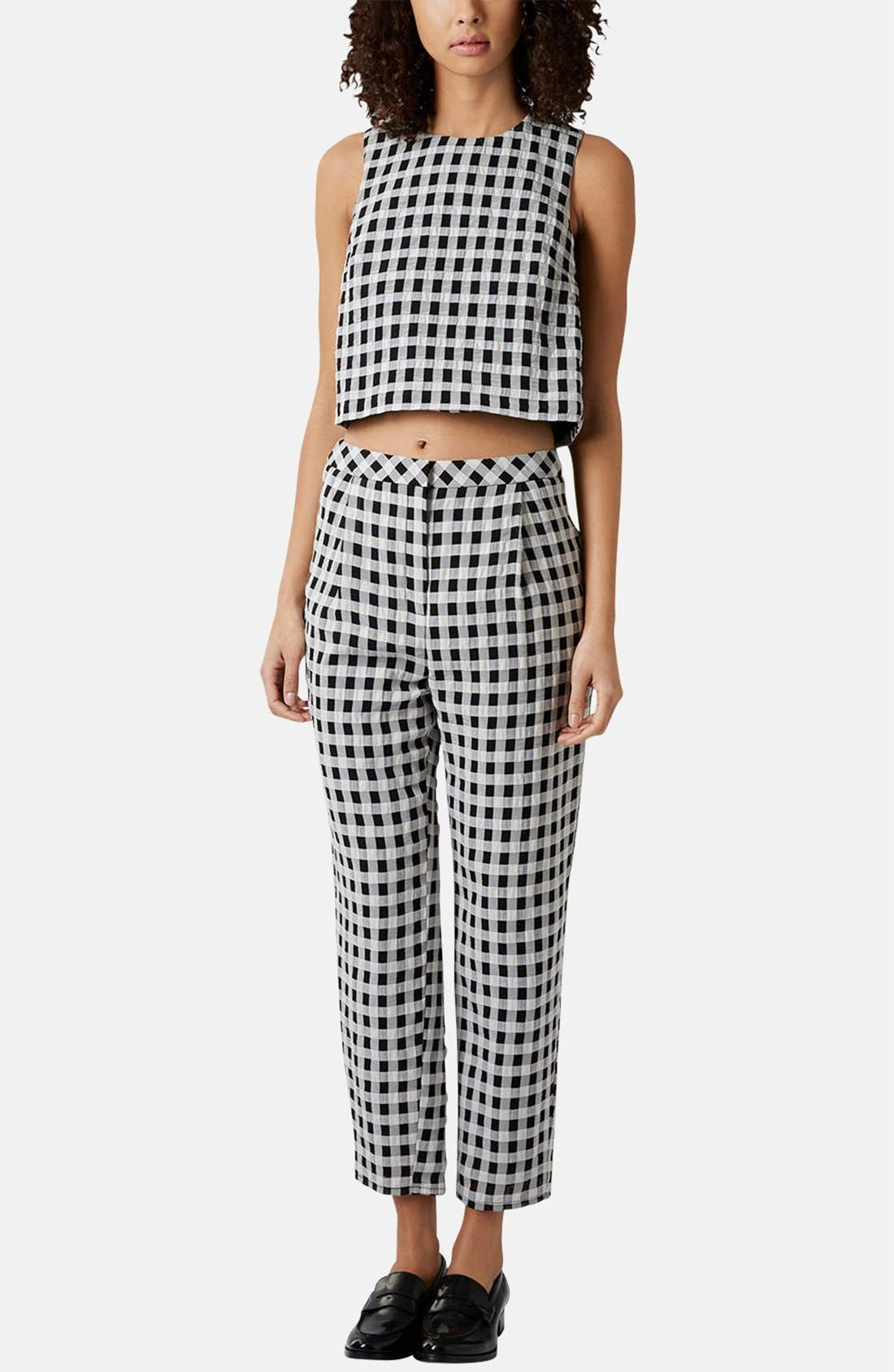 Alternate Image 5  - Topshop Textured Gingham Shell