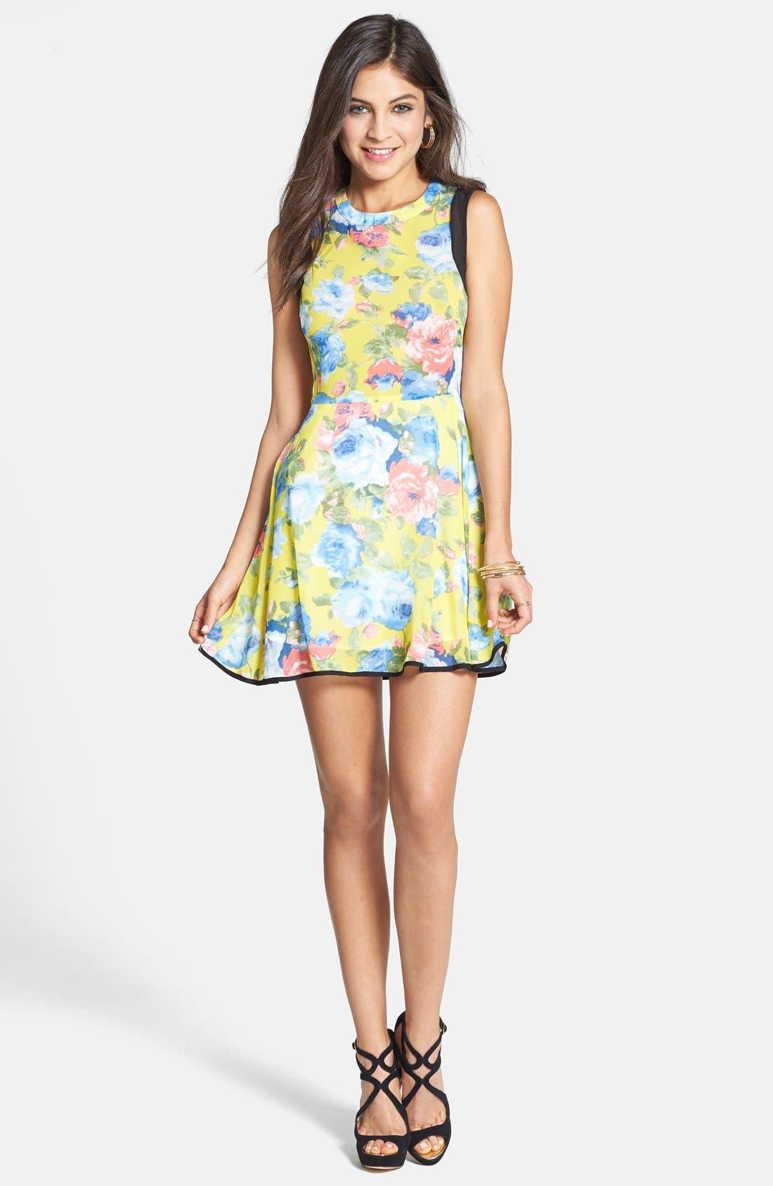 Alternate Image 1 Selected - Paper Crane Contrast Panel Floral Skater Dress (Juniors) (Online Only)