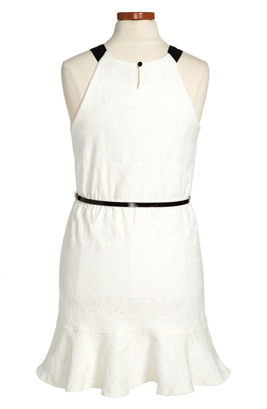 Alternate Image 2  - Nicole Miller Woven Jacquard Dress (Big Girls)