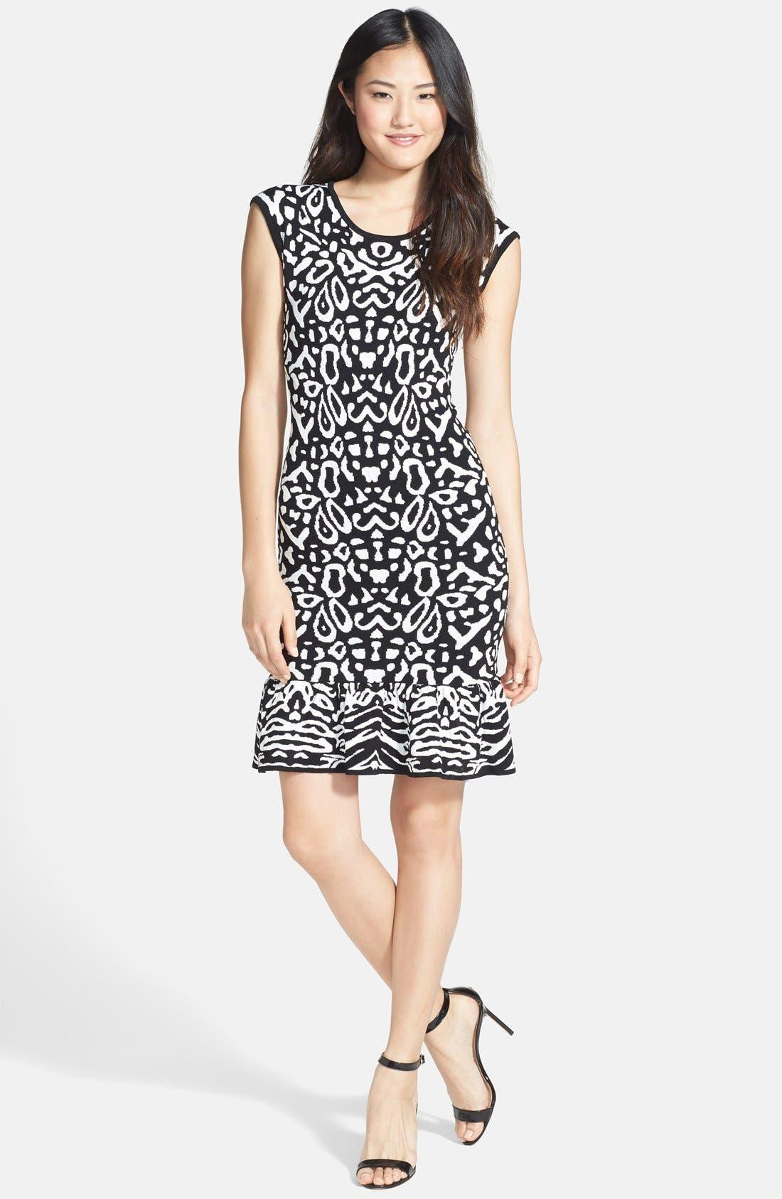 Alternate Image 3  - Felicity & Coco Flounce Hem Jacquard Body-Con Sweater Dress (Regular & Petite) (Nordstrom Exclusive)