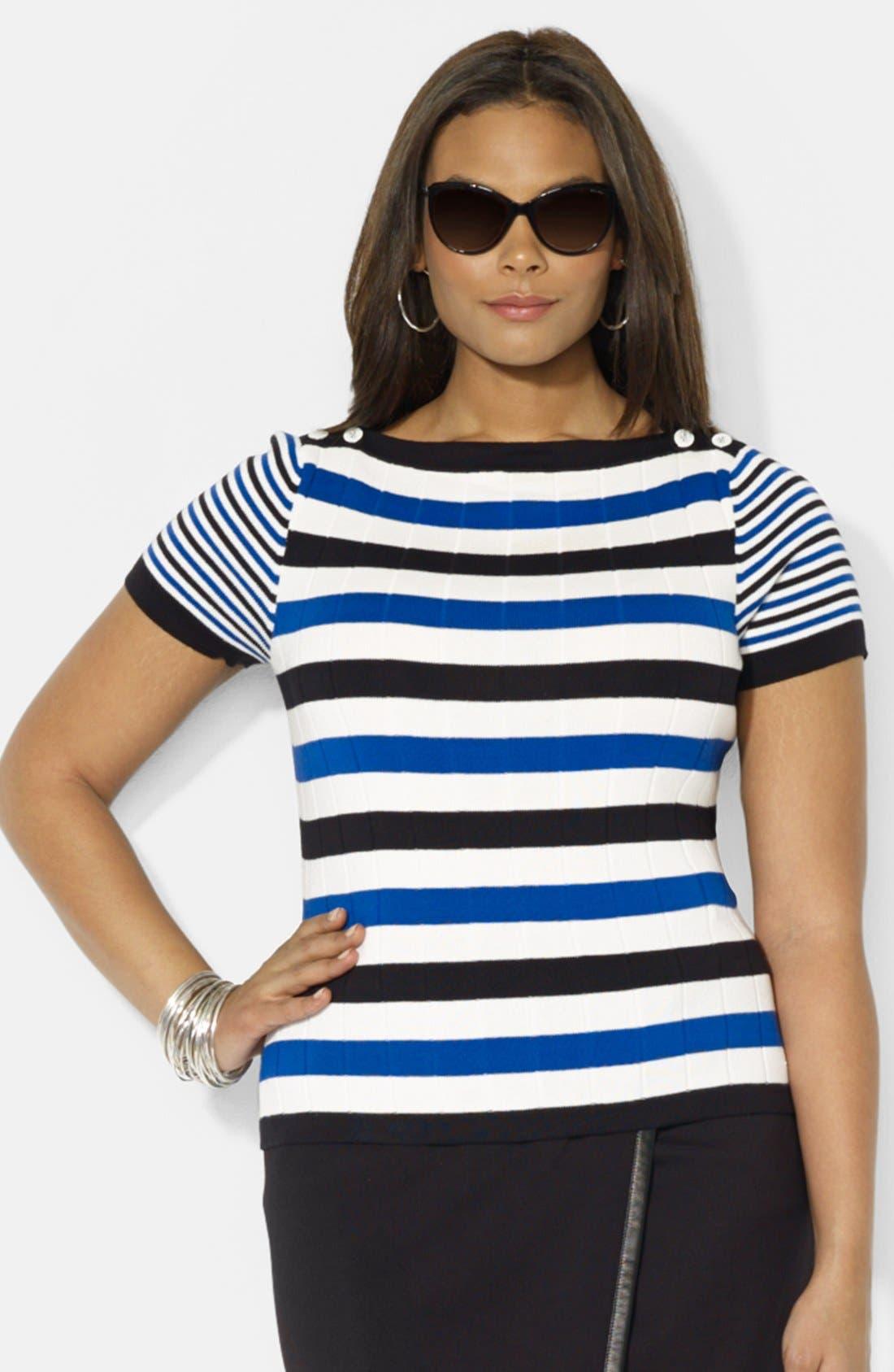 Main Image - Lauren Ralph Lauren Short Sleeve Boatneck Sweater (Plus Size)