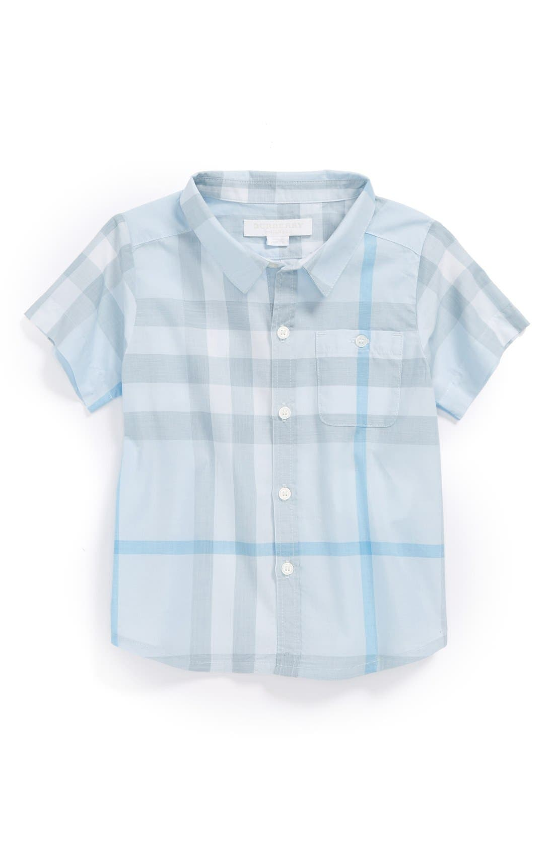 Main Image - Burberry 'Tyson' Check Pattern Woven Shirt (Baby Boys)
