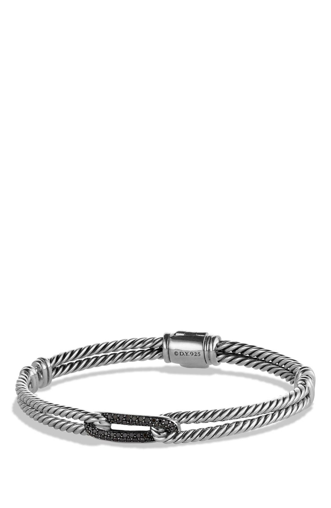 David Yurman Petite Pavé 'Labyrinth' Mini Single Loop Bracelet with Diamonds in Gold