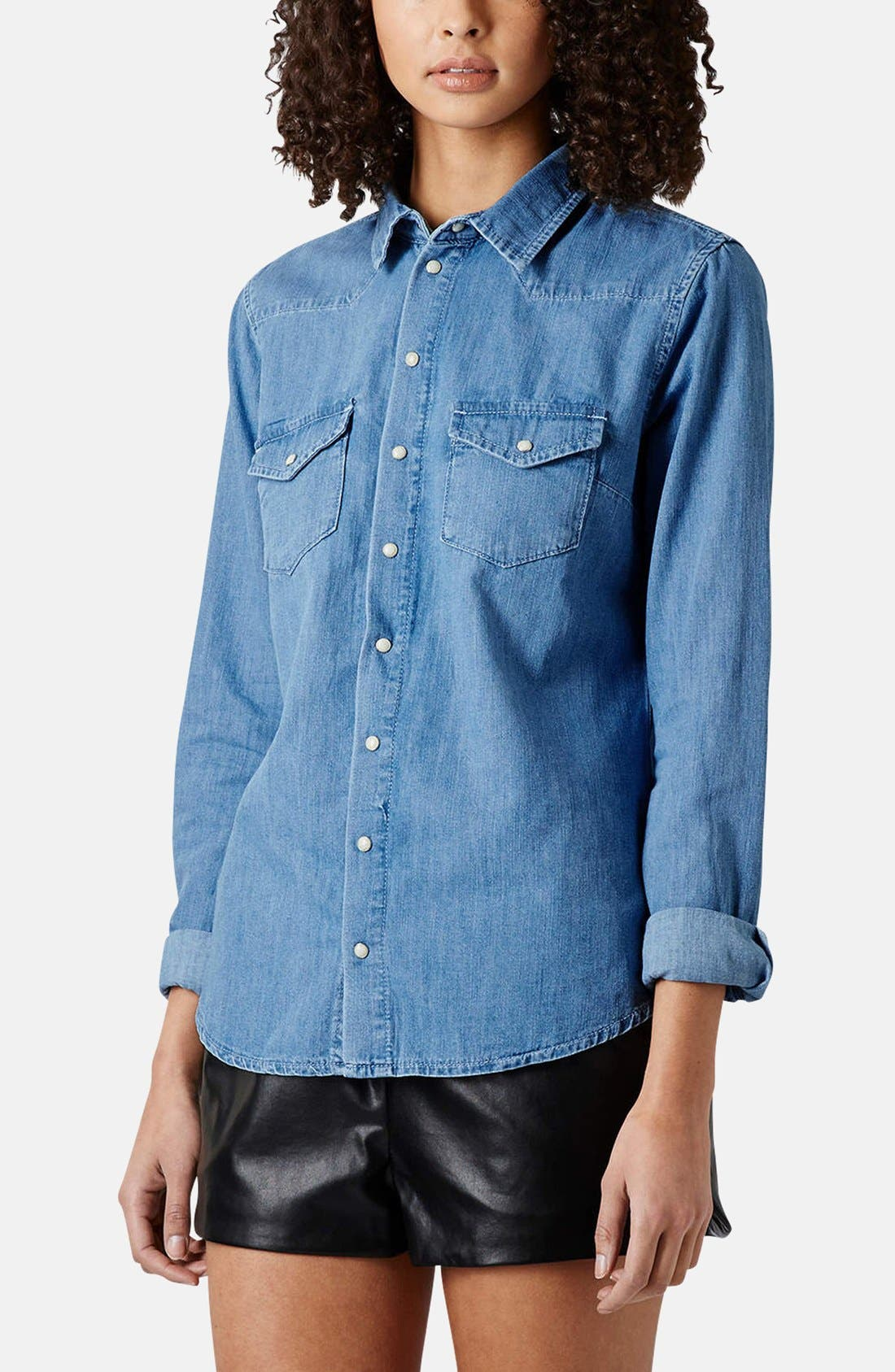 Main Image - Topshop Moto Fitted Western Denim Shirt
