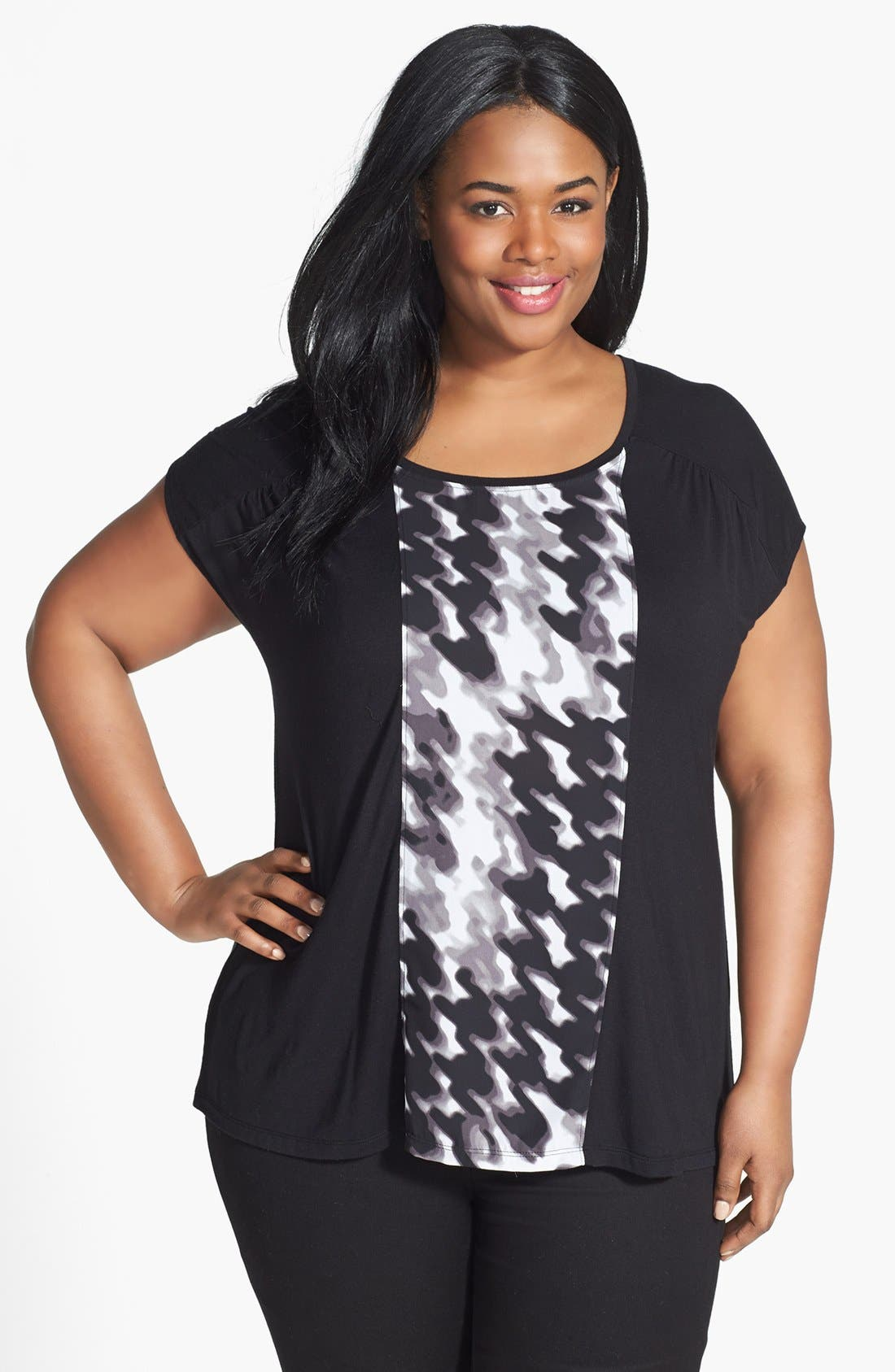 Main Image - Sejour Mixed Media Knit Top (Plus Size)