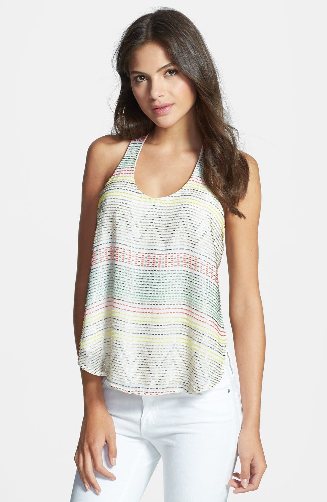 Alternate Image 1 Selected - Parker 'Briar' Beaded Racerback Silk Tank
