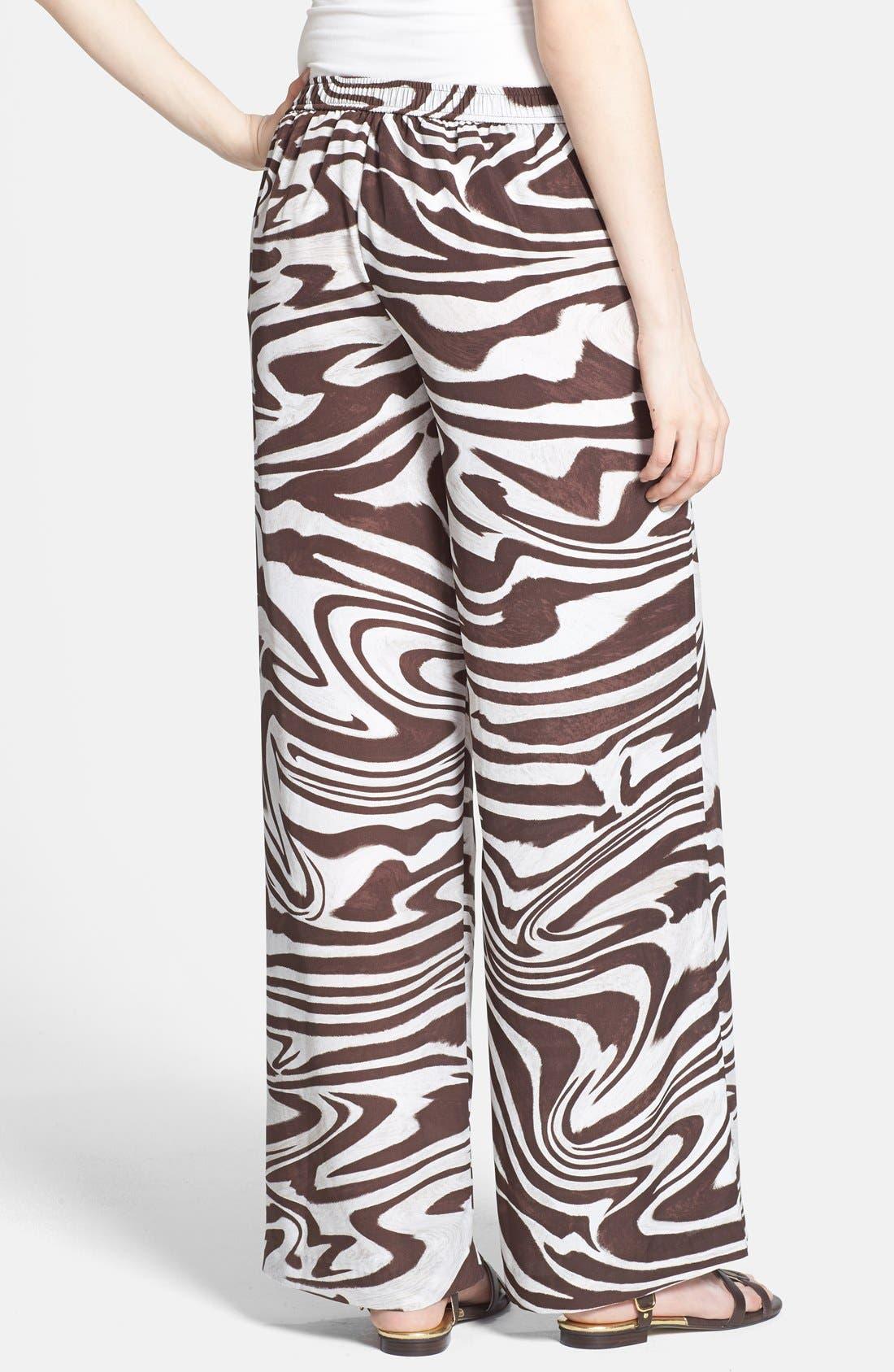Alternate Image 2  - MICHAEL Michael Kors Zebra Print Wide Leg Pants (Regular & Petite)