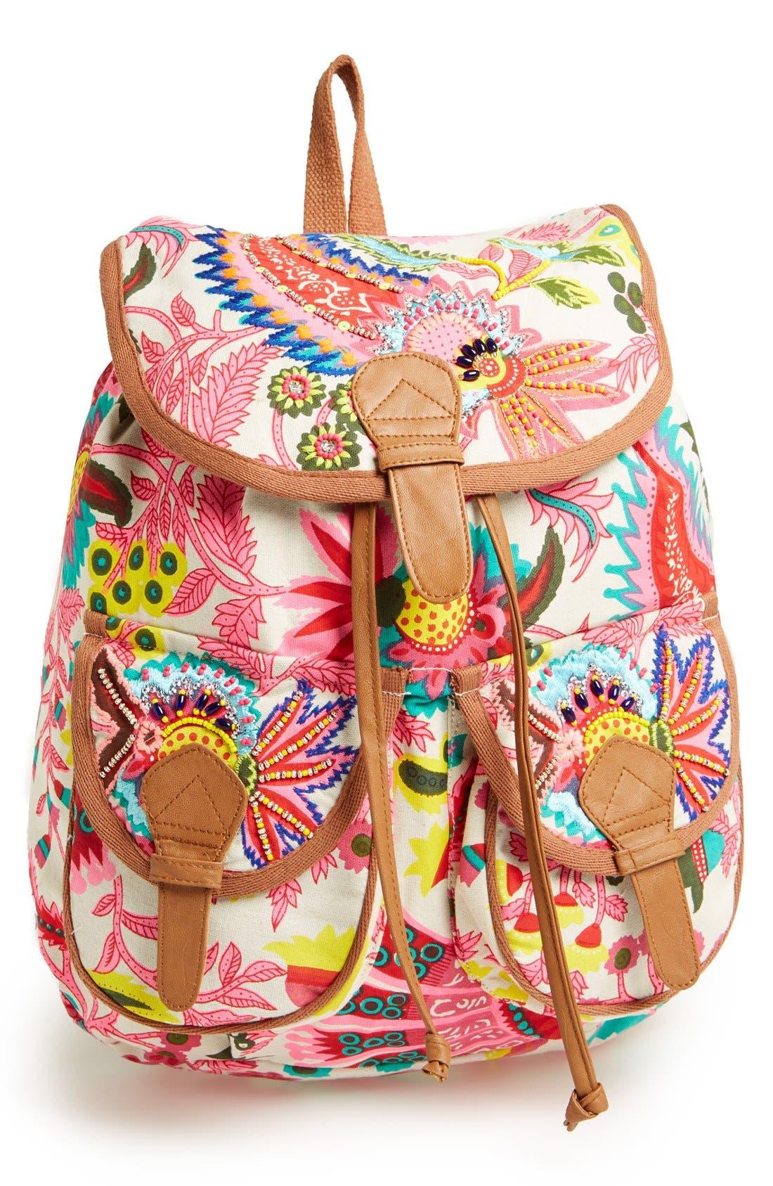 Alternate Image 1 Selected - Steve Madden Beaded Canvas Backpack