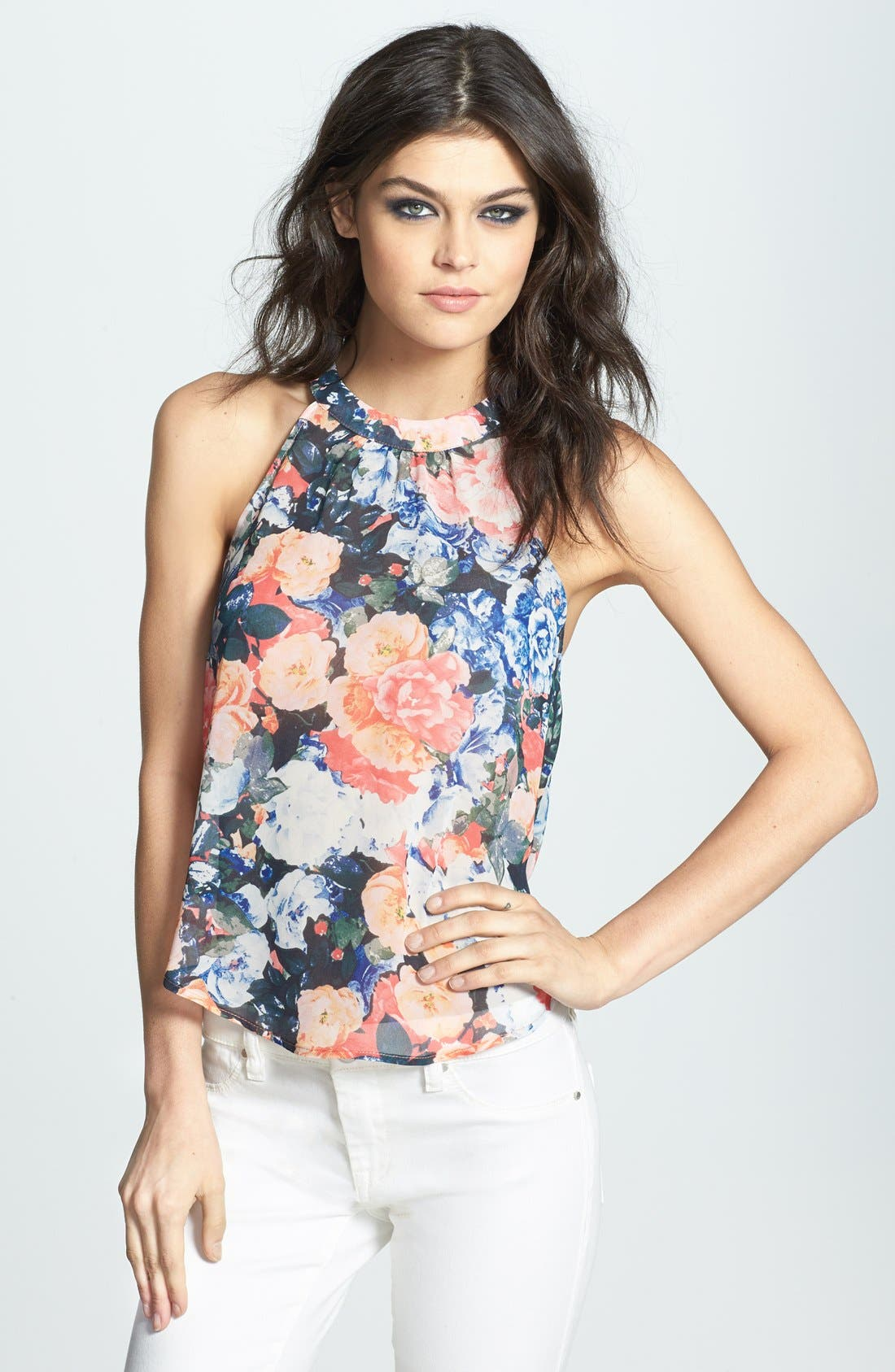 Alternate Image 1 Selected - ASTR Drape Back Floral Print Chiffon Tank