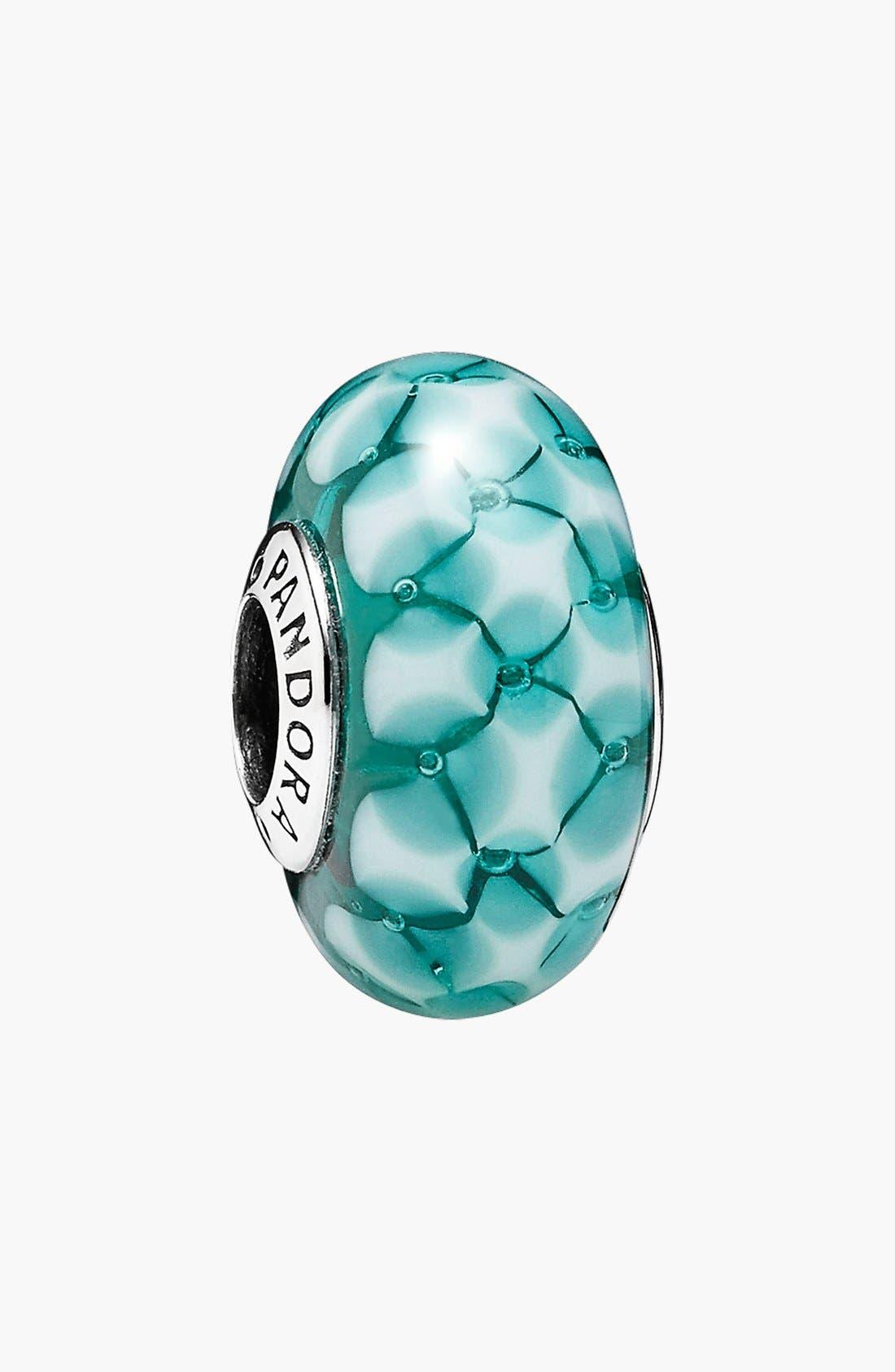 Alternate Image 1 Selected - PANDORA 'Teal Lattice' Murano Glass Bead Charm