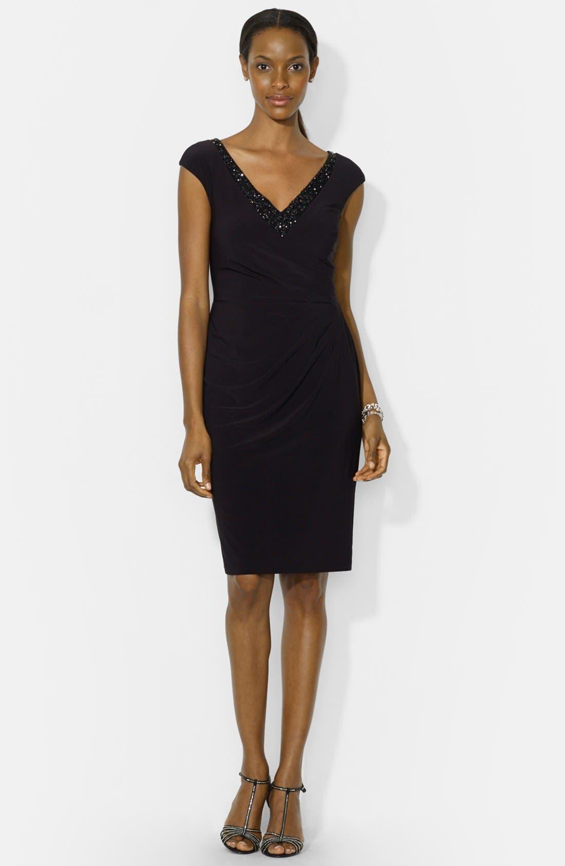 Alternate Image 3  - Lauren Ralph Lauren Embellished Cap Sleeve Jersey Sheath Dress