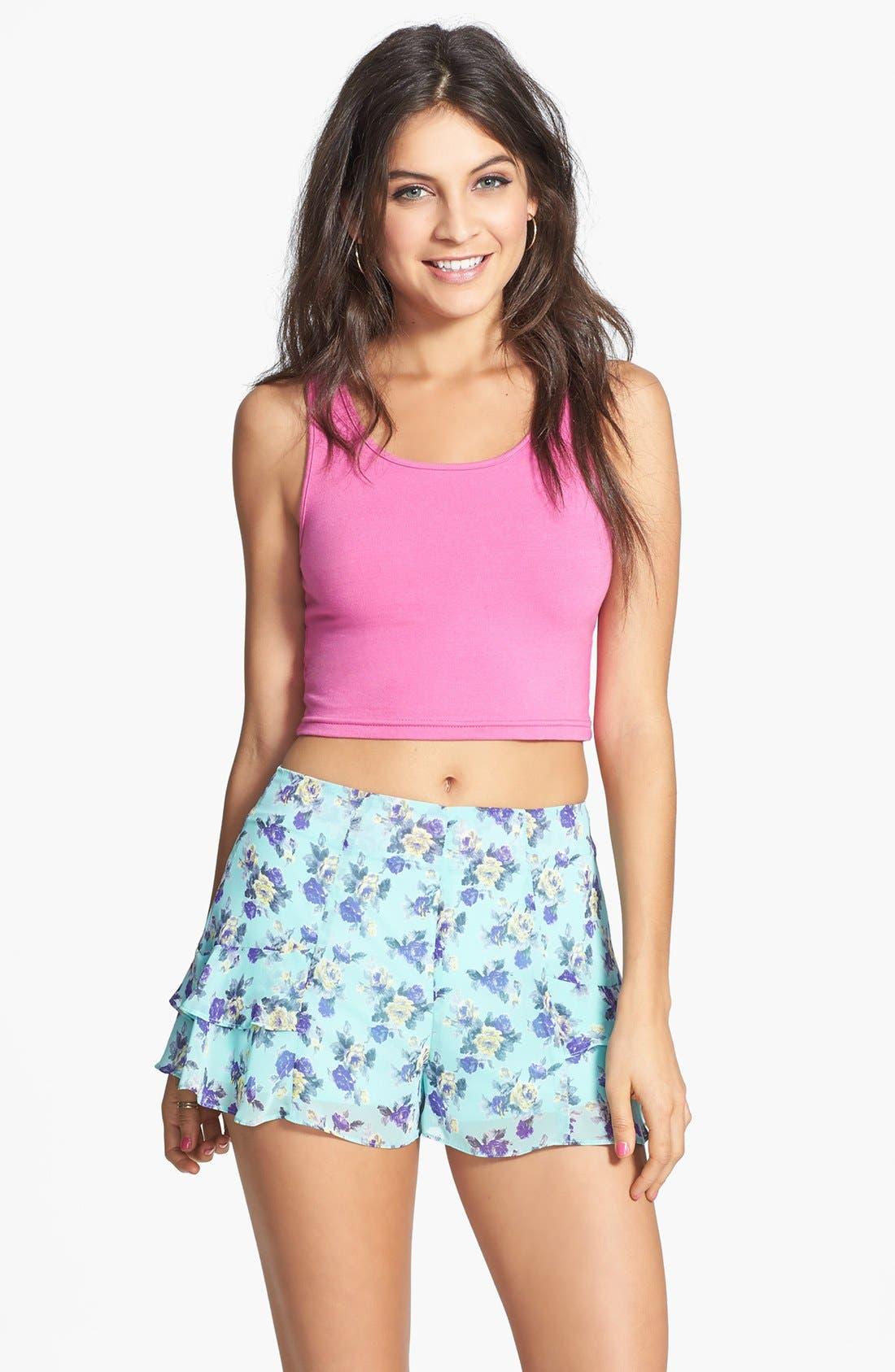 Main Image - Lush Floral Print Ruffled Shorts (Juniors)