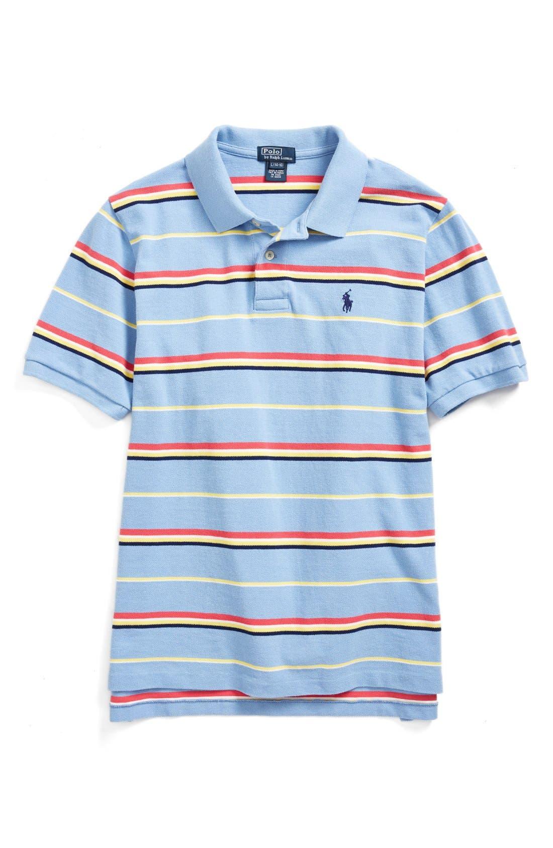 Alternate Image 1 Selected - Ralph Lauren Stripe Mesh Polo (Little Boys)